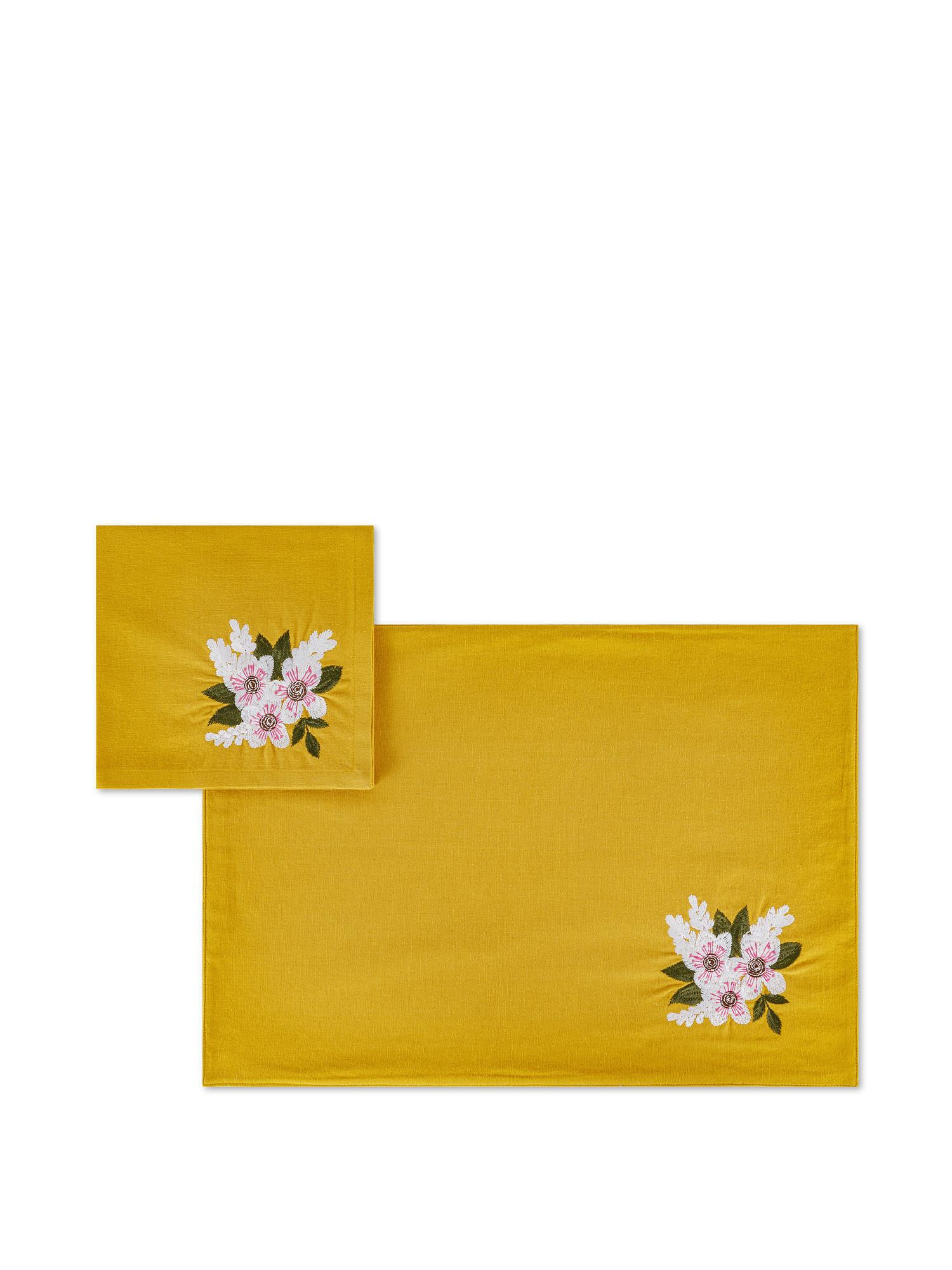 Set tovaglietta e tovagliolo puro cotone ricamo fiore, Giallo, large image number 0