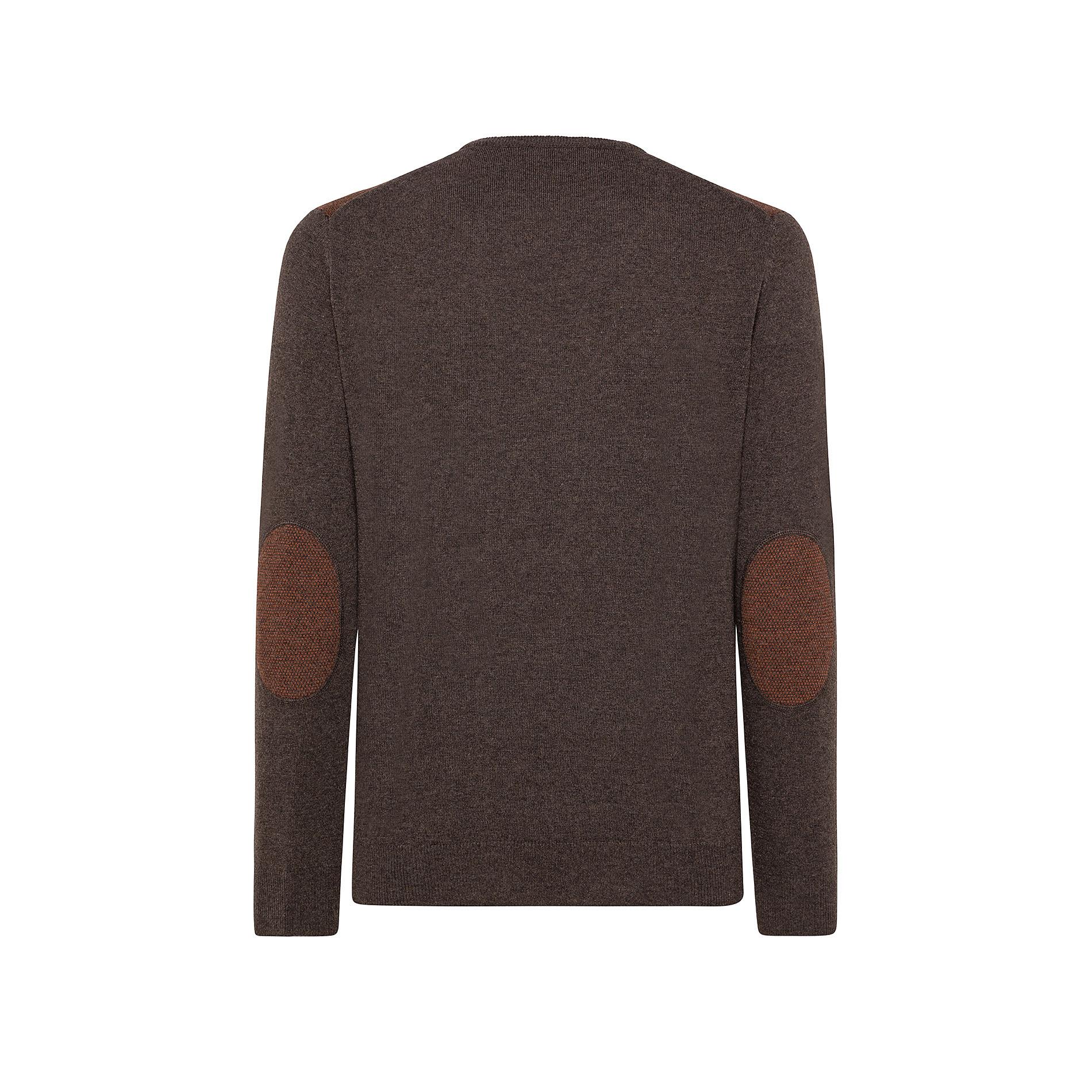 Pullover girocollo misto lana motivo piquet, Marrone, large image number 1
