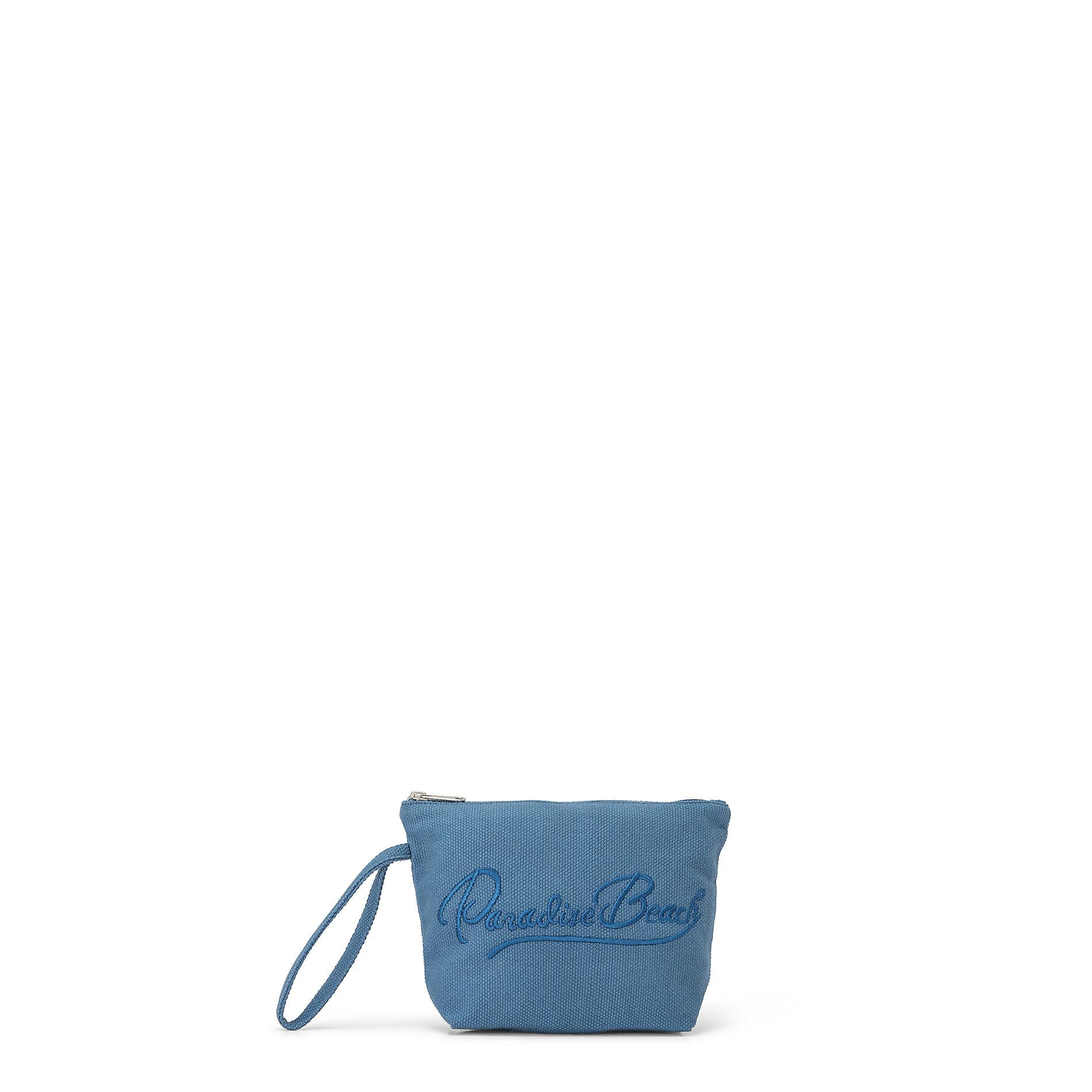 Bustina in canvas di cotone con ricamo, Blu, large image number 0