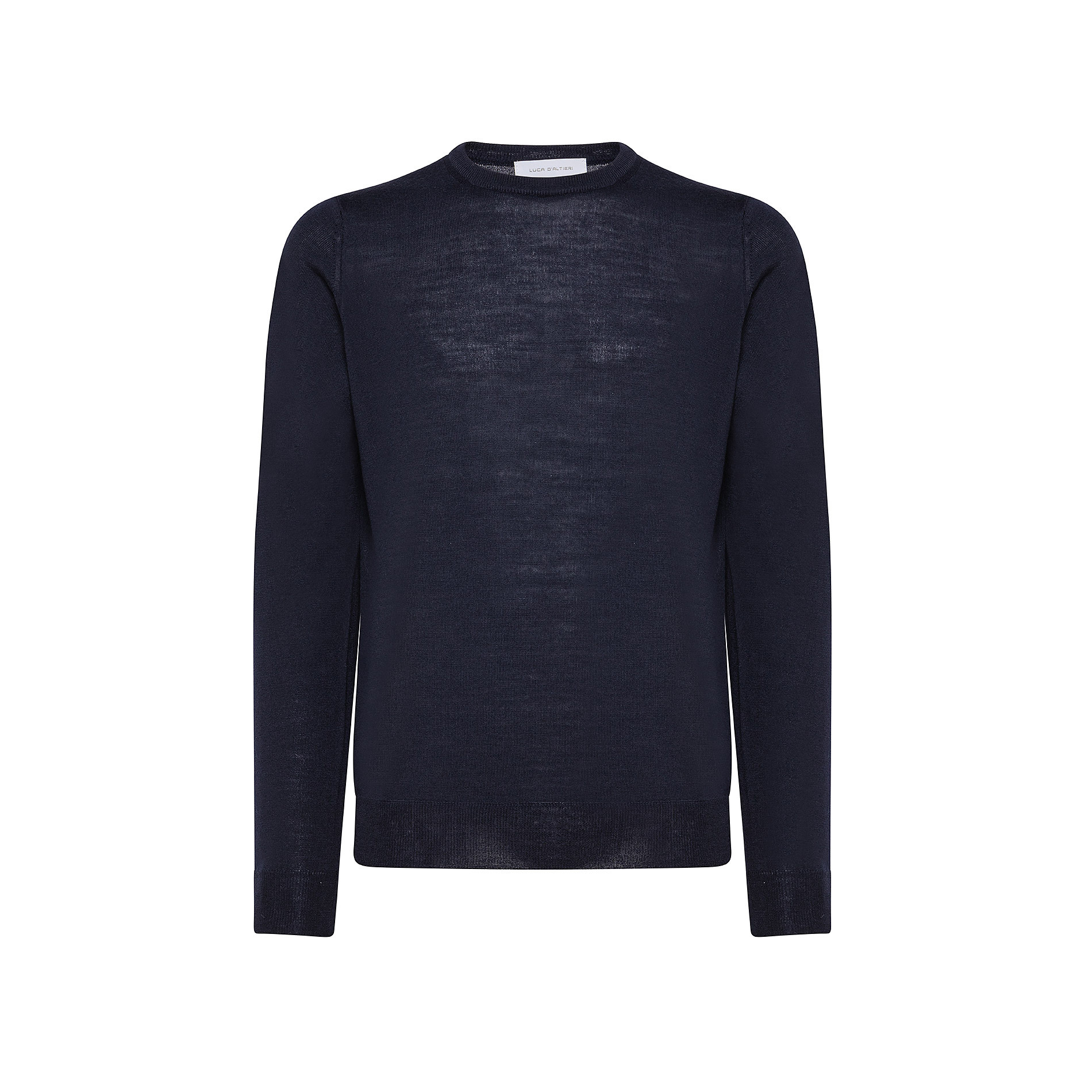 Pullover girocollo lana merinos extrafine, Blu, large image number 0