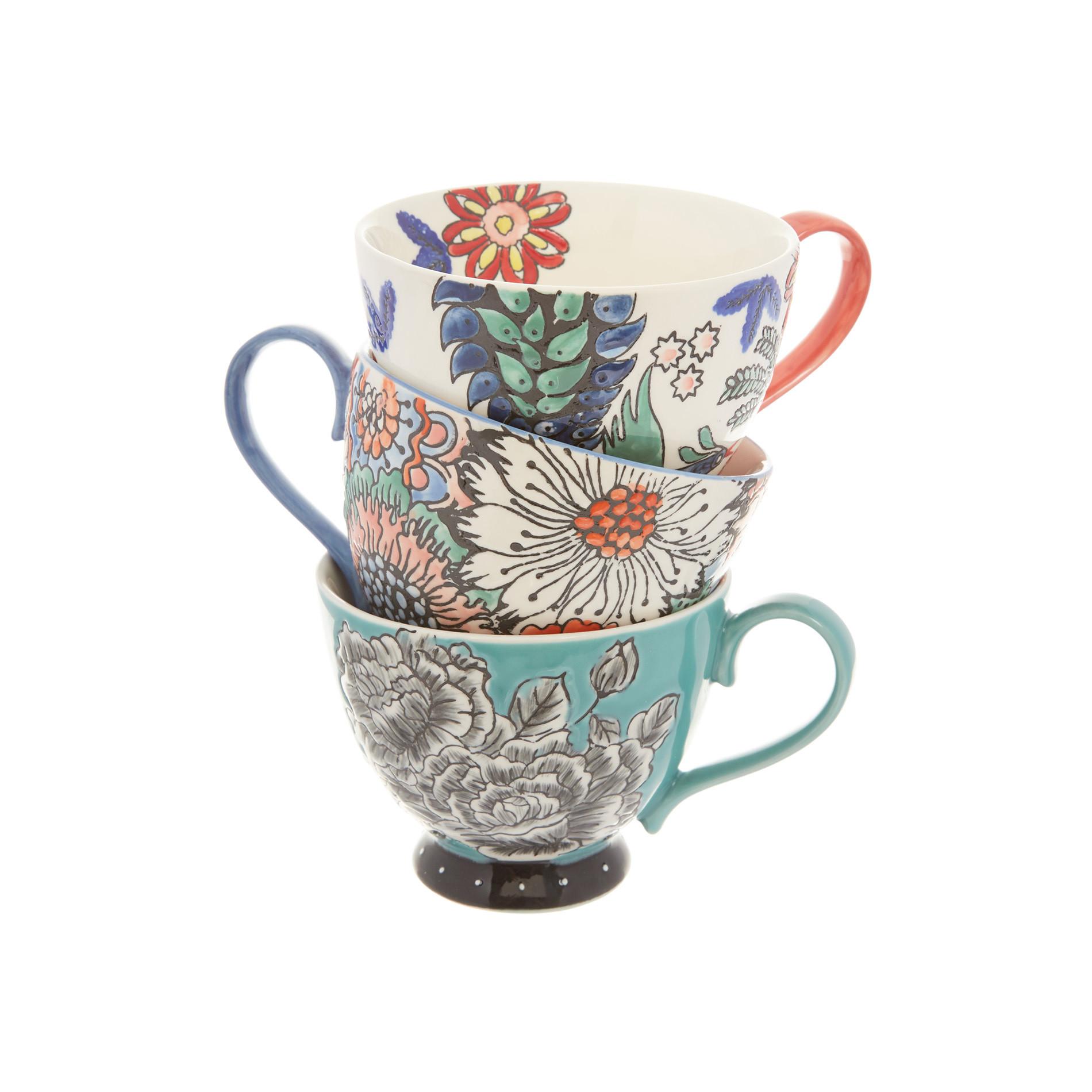 Tazza da colazione stoneware dipinta a mano, Multicolor, large image number 2