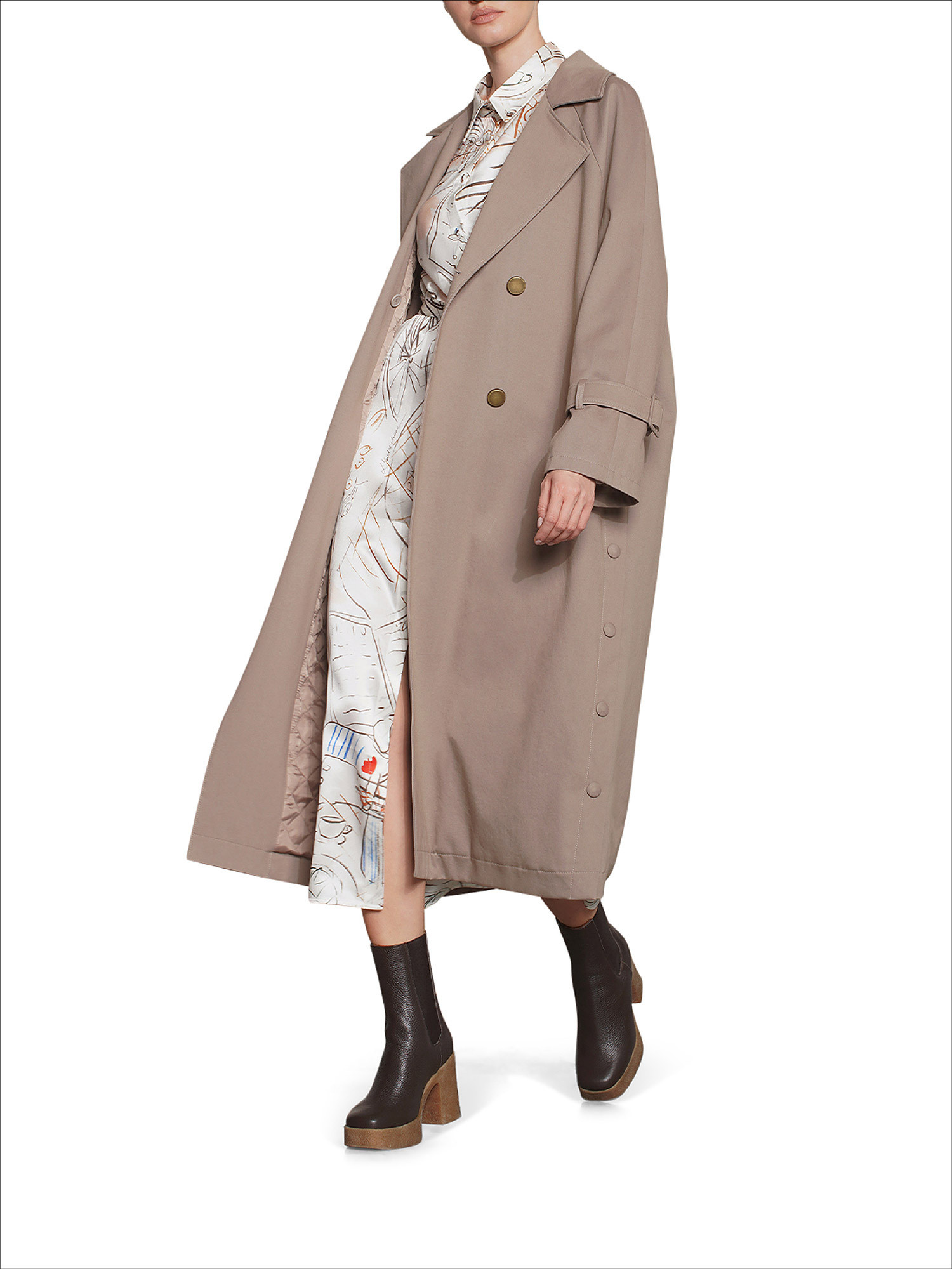 Trench oversize, Beige, large image number 1