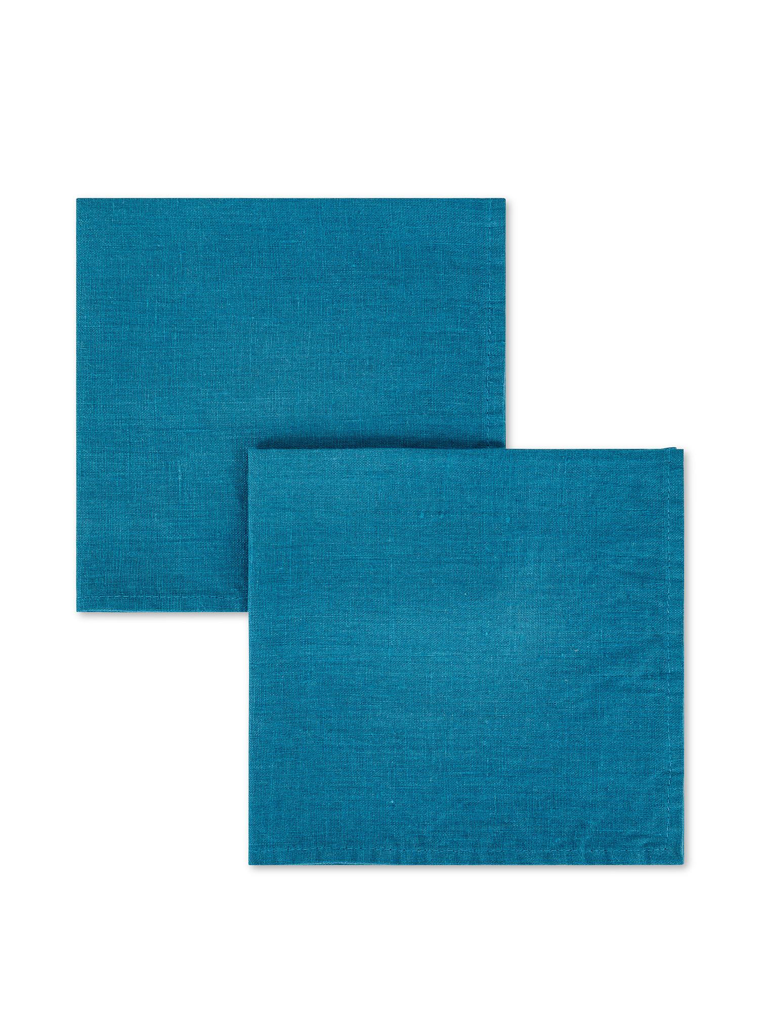 Set 2 tovaglioli lino lavato tinta unita, Petrolio, large image number 0