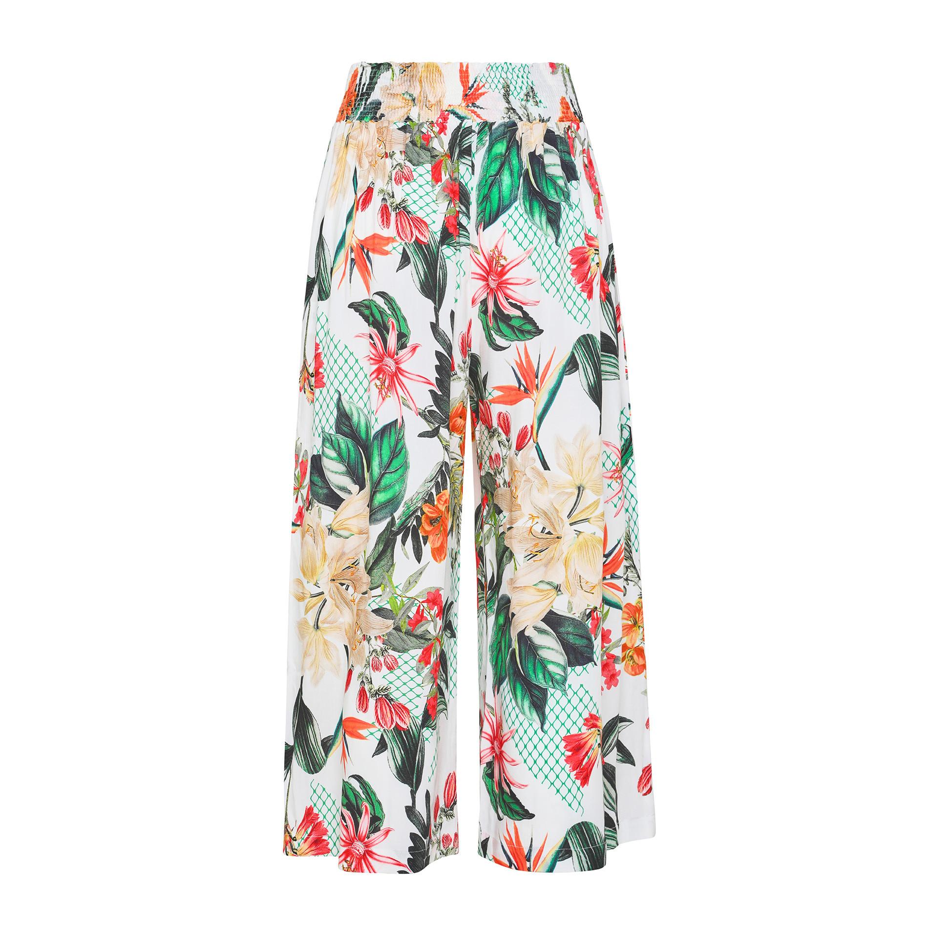 Pantalone ampio in viscosa stampa floreale, Multicolor, large image number 0