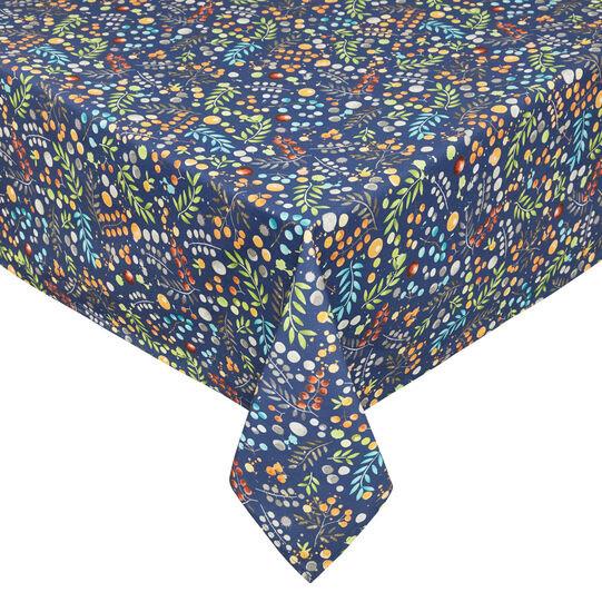 Tovaglia twill di cotone stampa fiori, Blu, large image number 0
