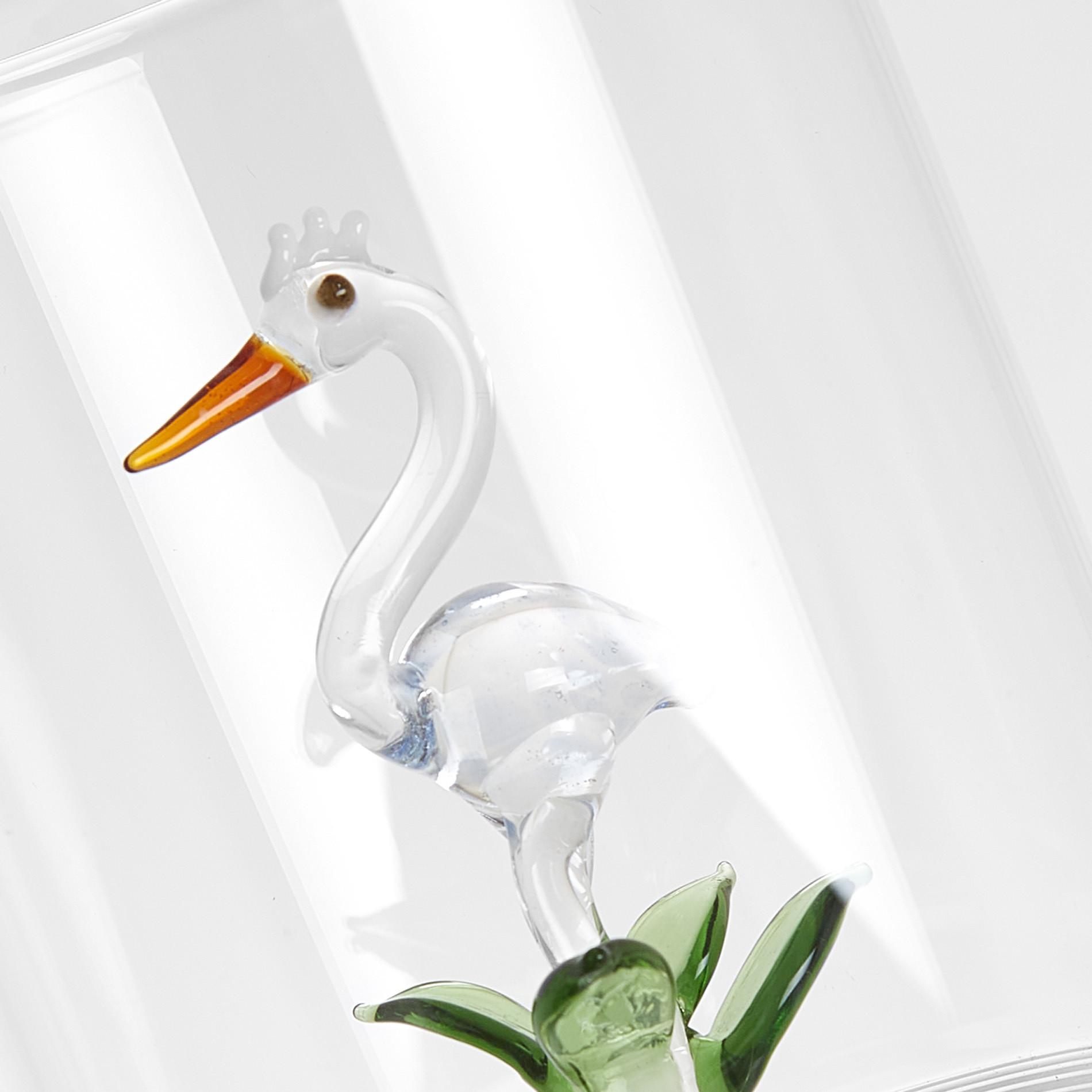 Bicchiere vetro dettaglio airone, Trasparente, large image number 1