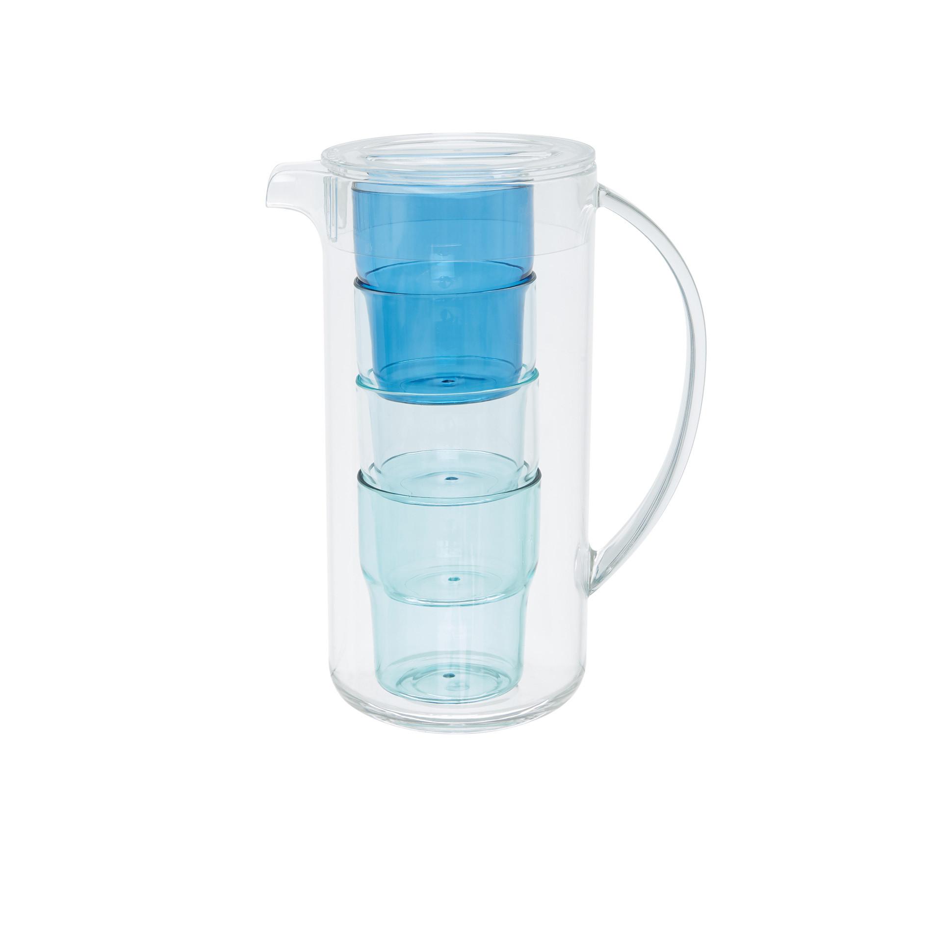Caraffa plastica con 4 bicchieri, Trasparente, large image number 0