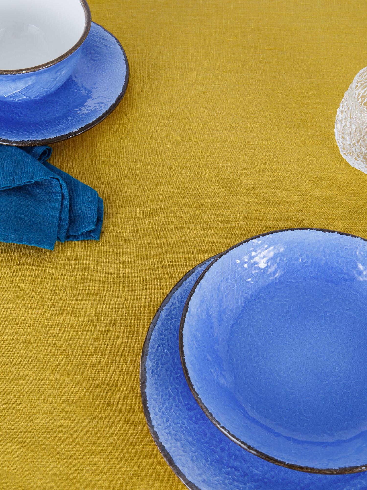 Tovaglia puro lino lavato tinta unita, Giallo ocra, large image number 1