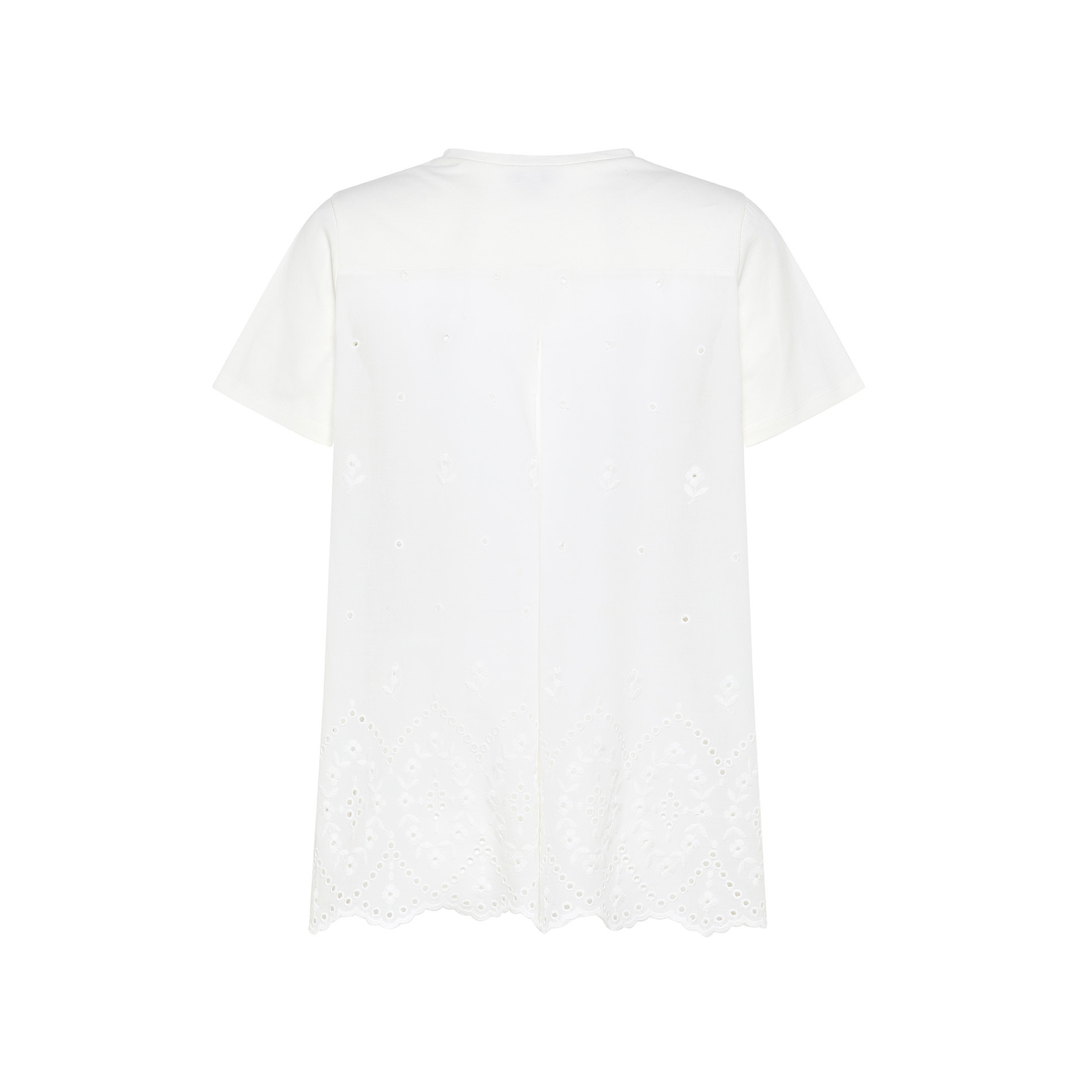 T-shirt in cotone e sangallo tinta unita, Bianco, large image number 1