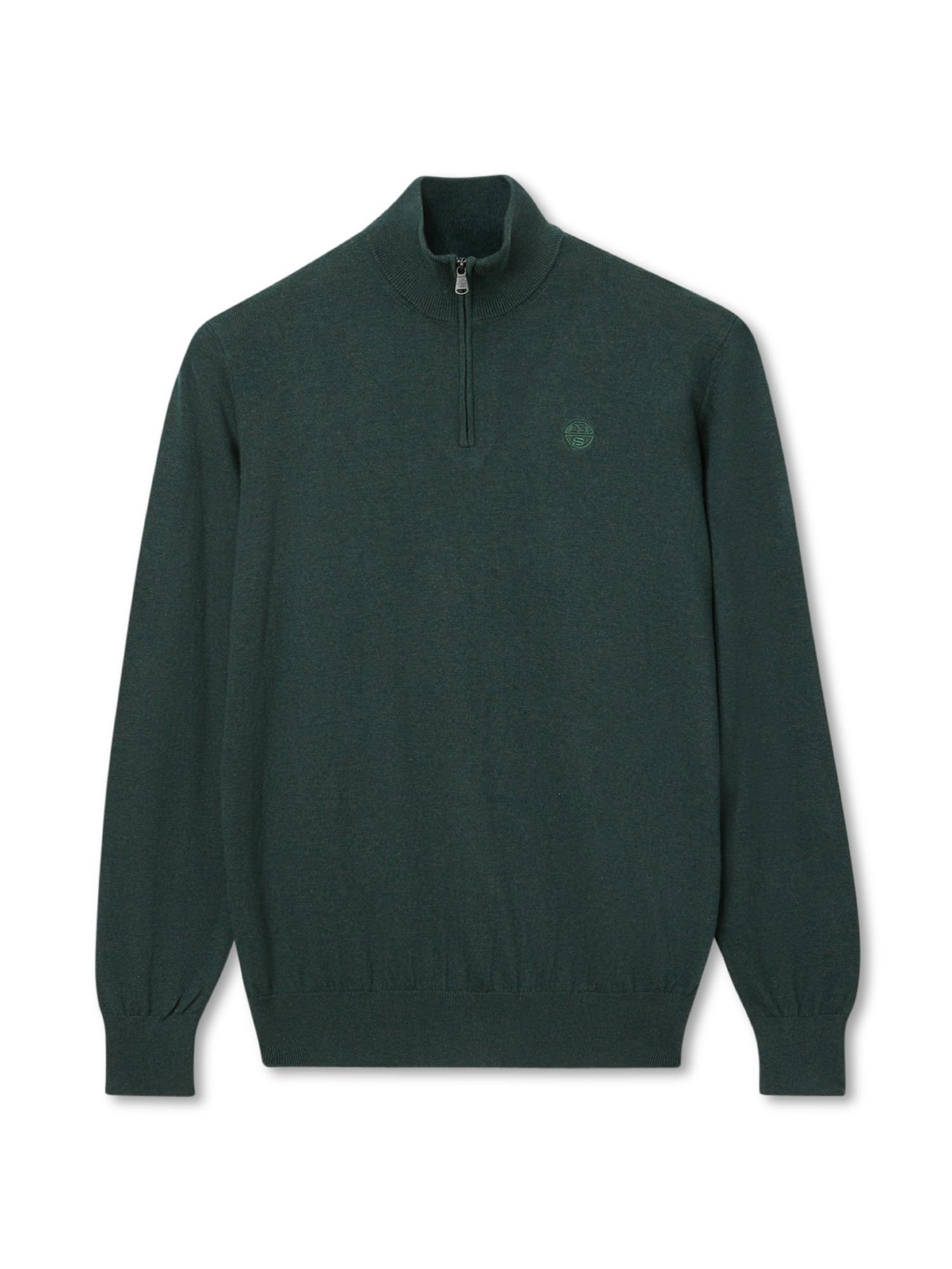 Maglione con scollo a V, Verde, large image number 0