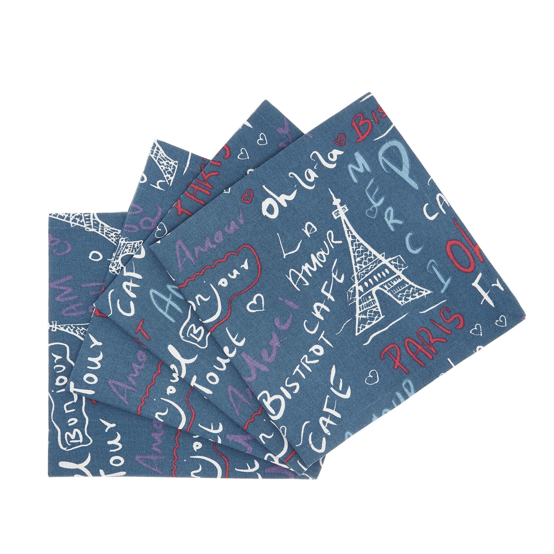 Set 4 tovaglioli puro cotone stampa Paris, Blu, large image number 0