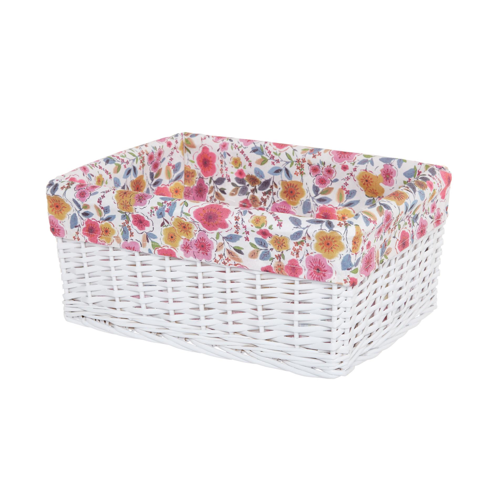 Cesto porta tutto in legno e tessuto a fiori, Bianco, large image number 0