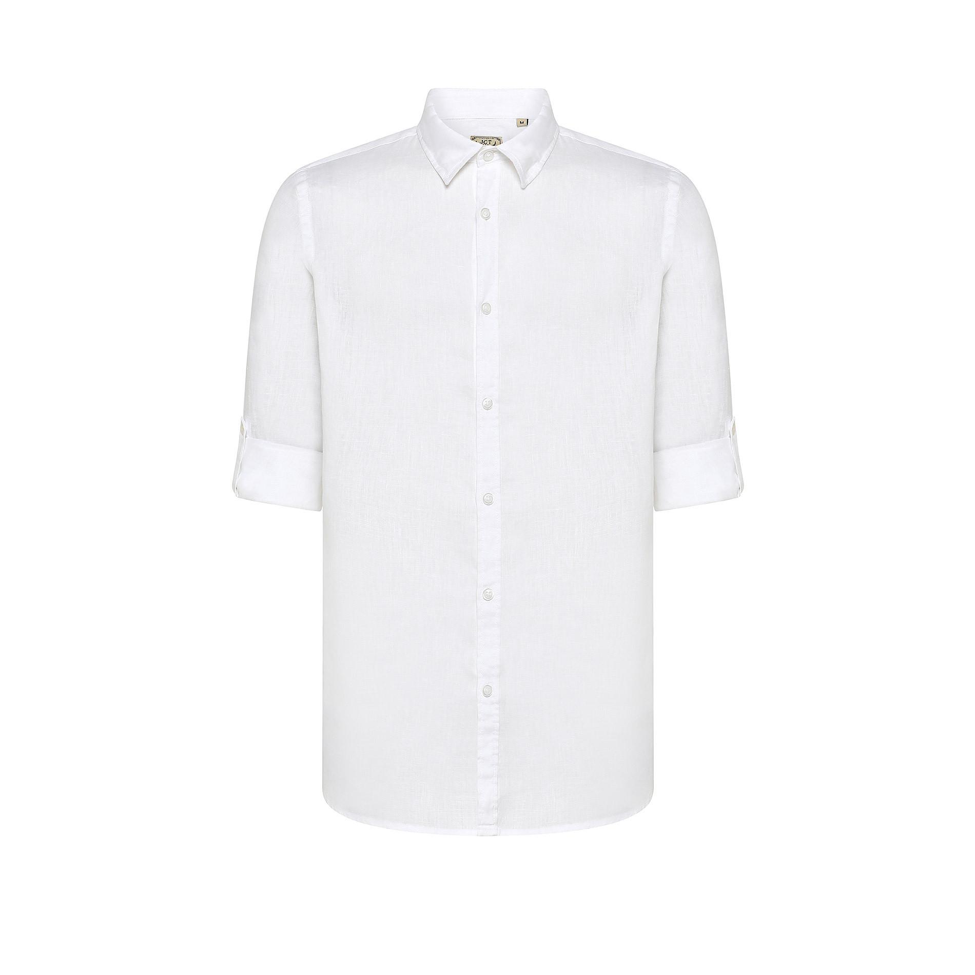 Camicia colletto classico puro lino JCT, Bianco, large image number 0