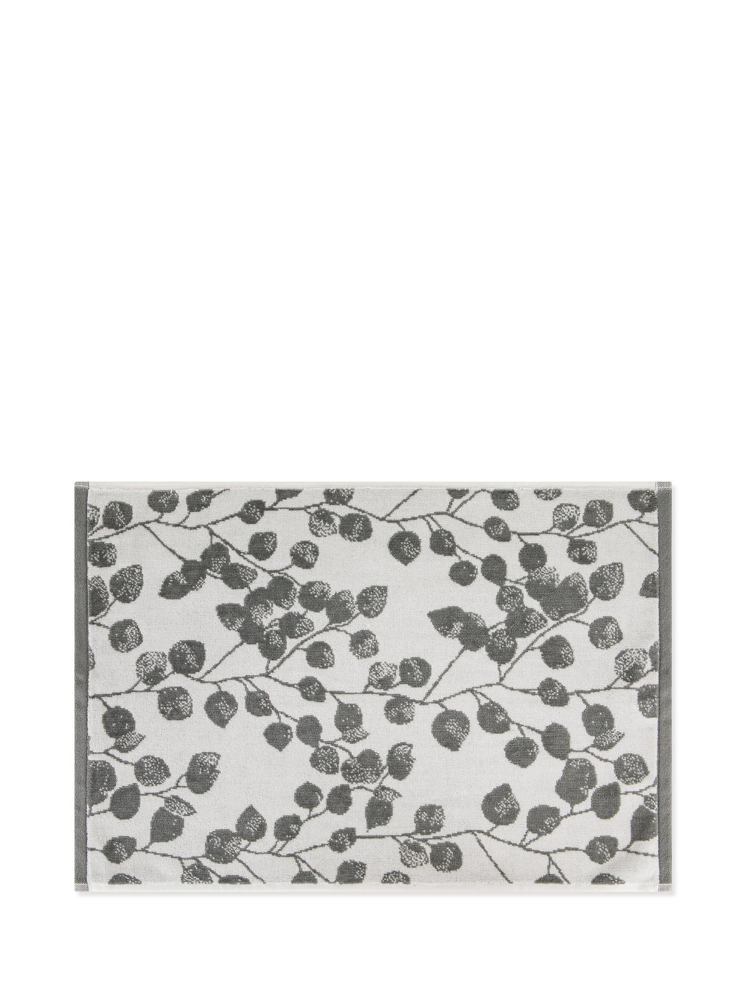 Asciugamano cotone velour motivo ramage, Grigio, large image number 1