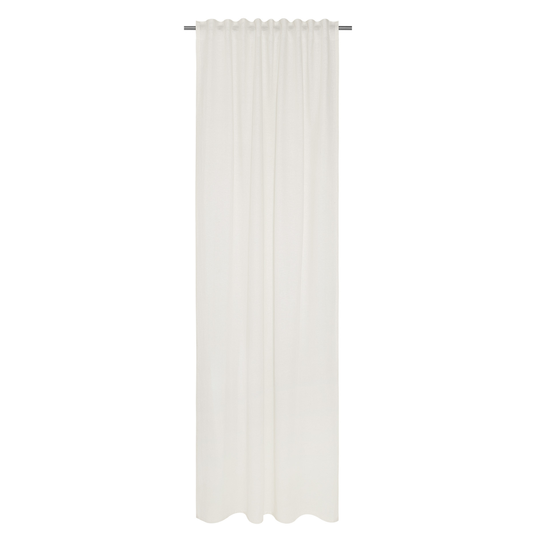 Tenda misto lino con passanti nascosti, Bianco, large image number 1