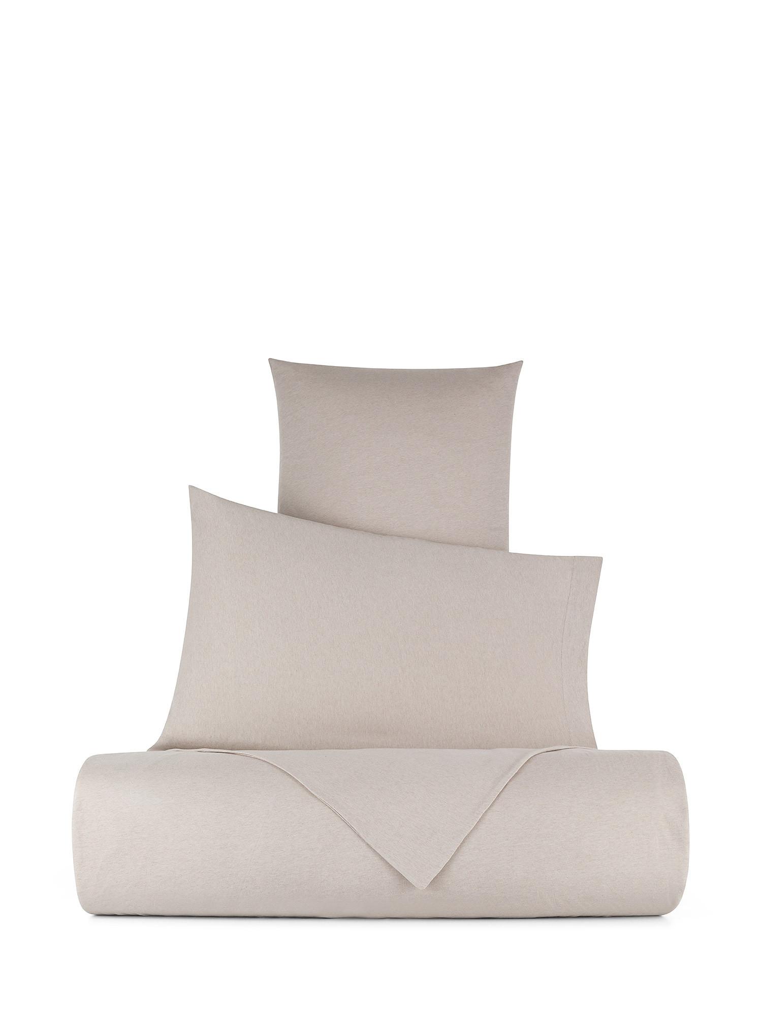 Parure copripiumino jersey di cotone tinta unita, Beige, large image number 0