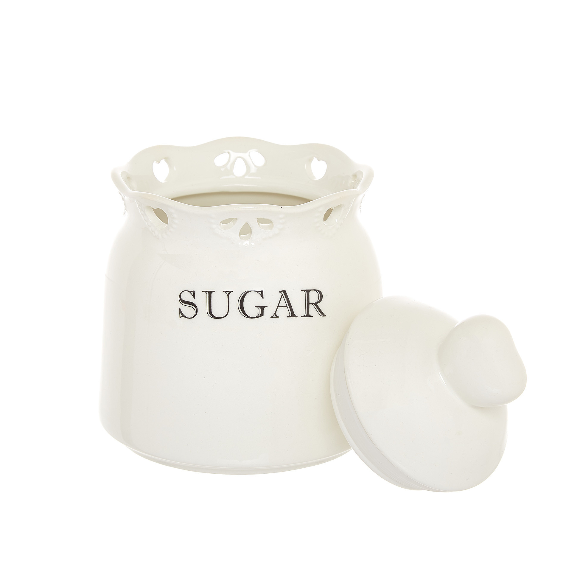 Barattolo sugar ceramica traforata, Bianco, large image number 1