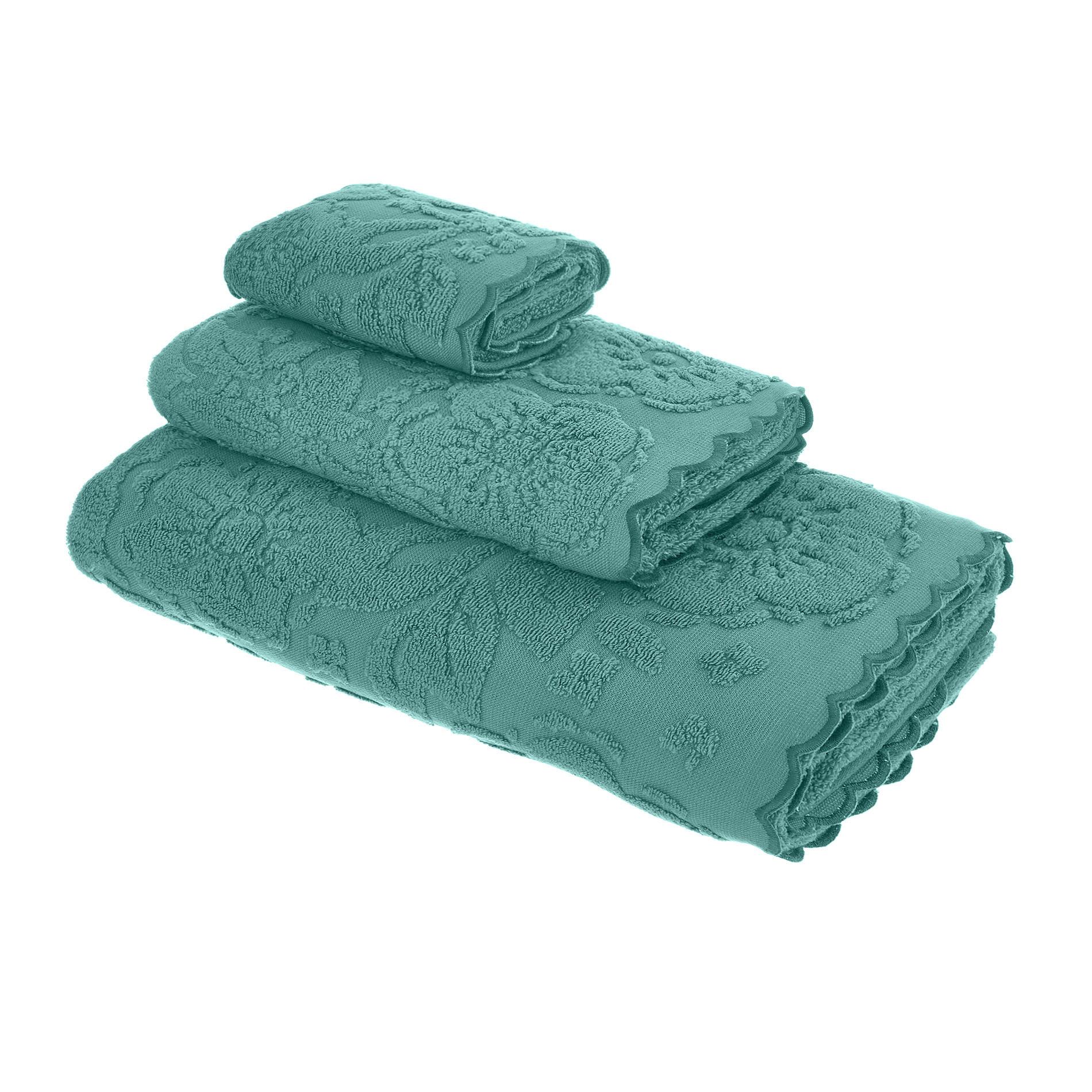 Asciugamano spugna di cotone bordo jacquard, Verde ottanio, large image number 0