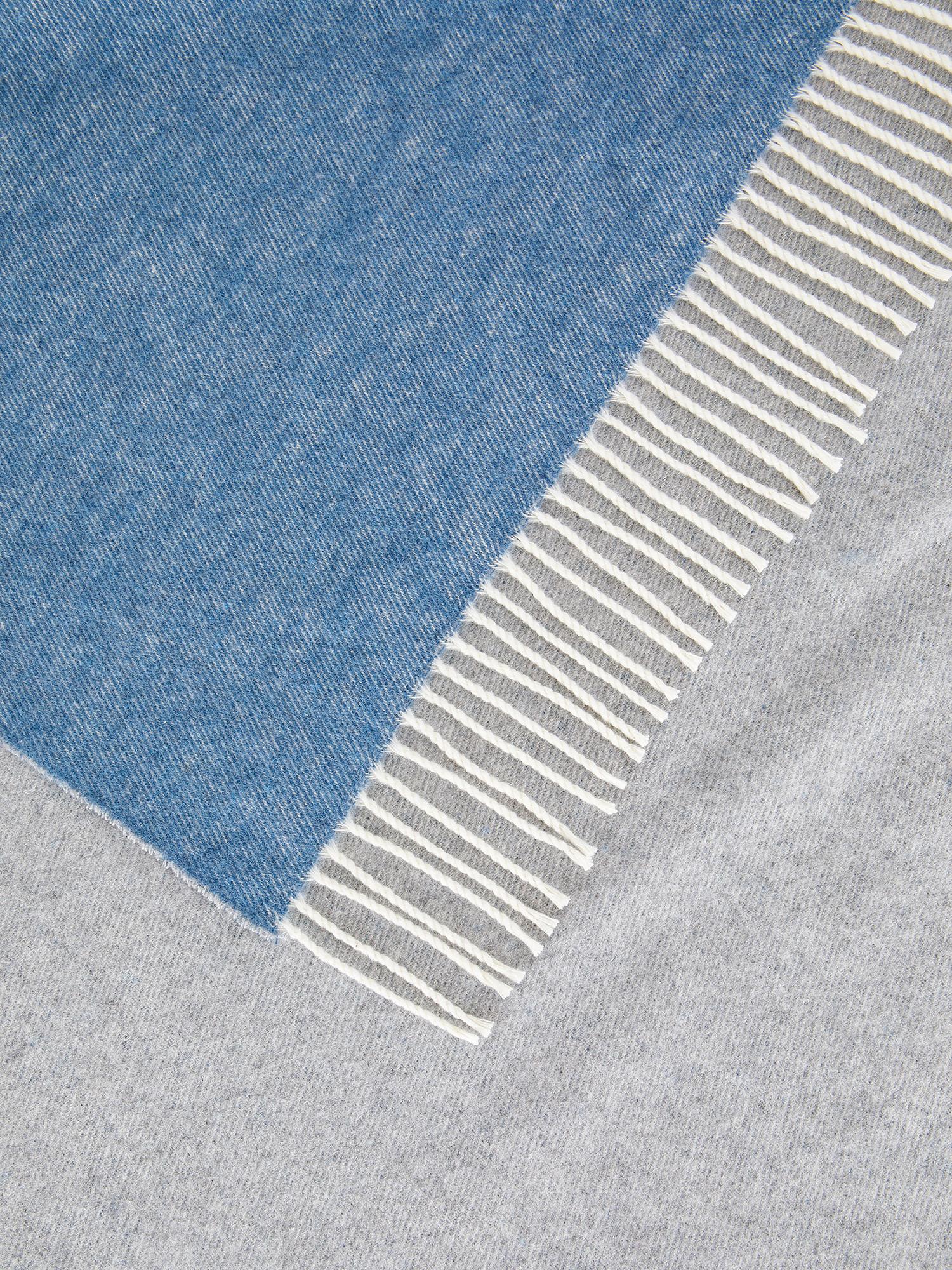 Plaid cotone ecologico double-face, Azzurro, large image number 1