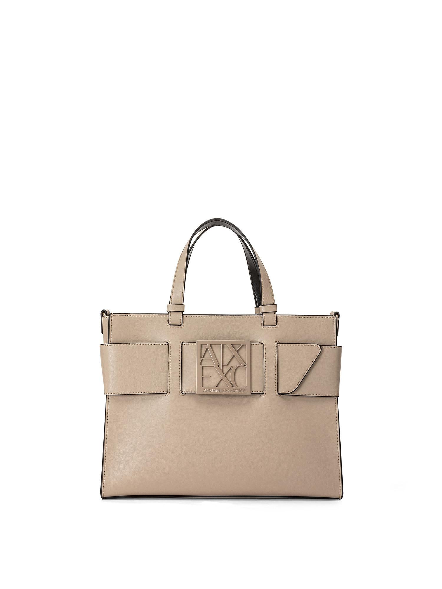 Tote bag grande con doppi manici e tracolla, Marrone, large image number 0