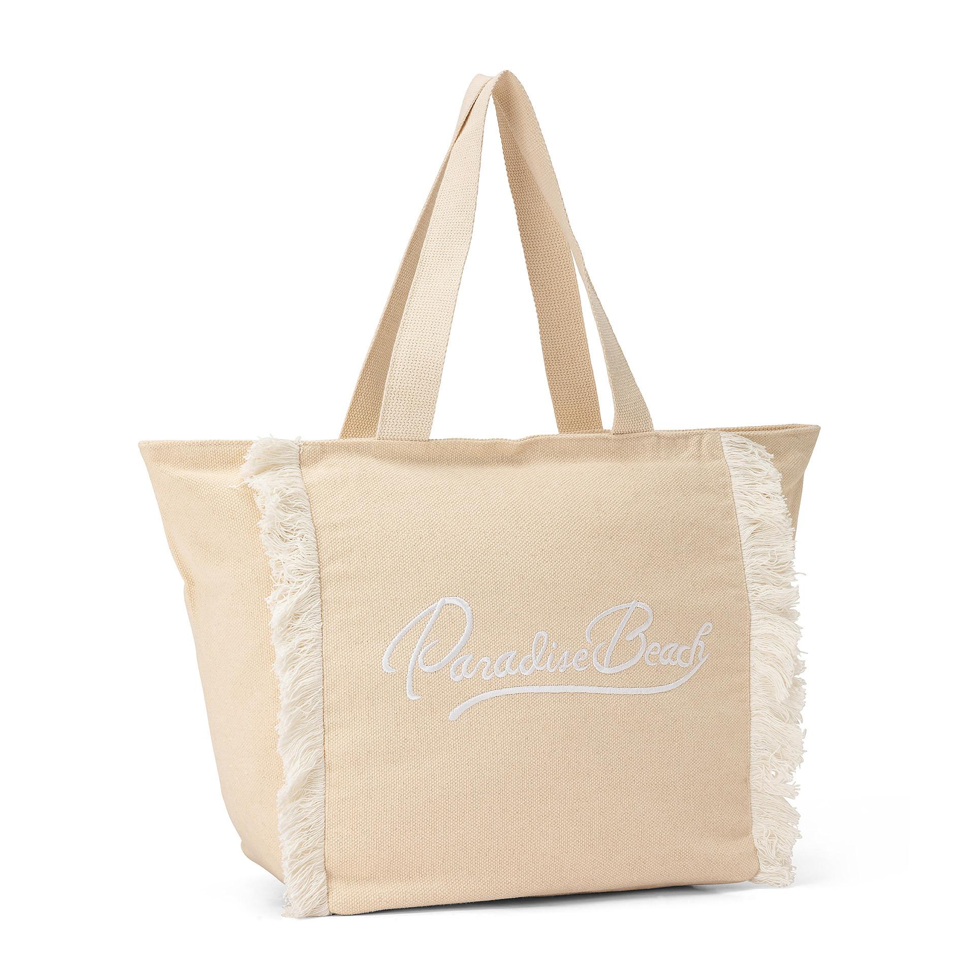 Shopper in canvas di cotone con ricamo, Beige, large image number 2