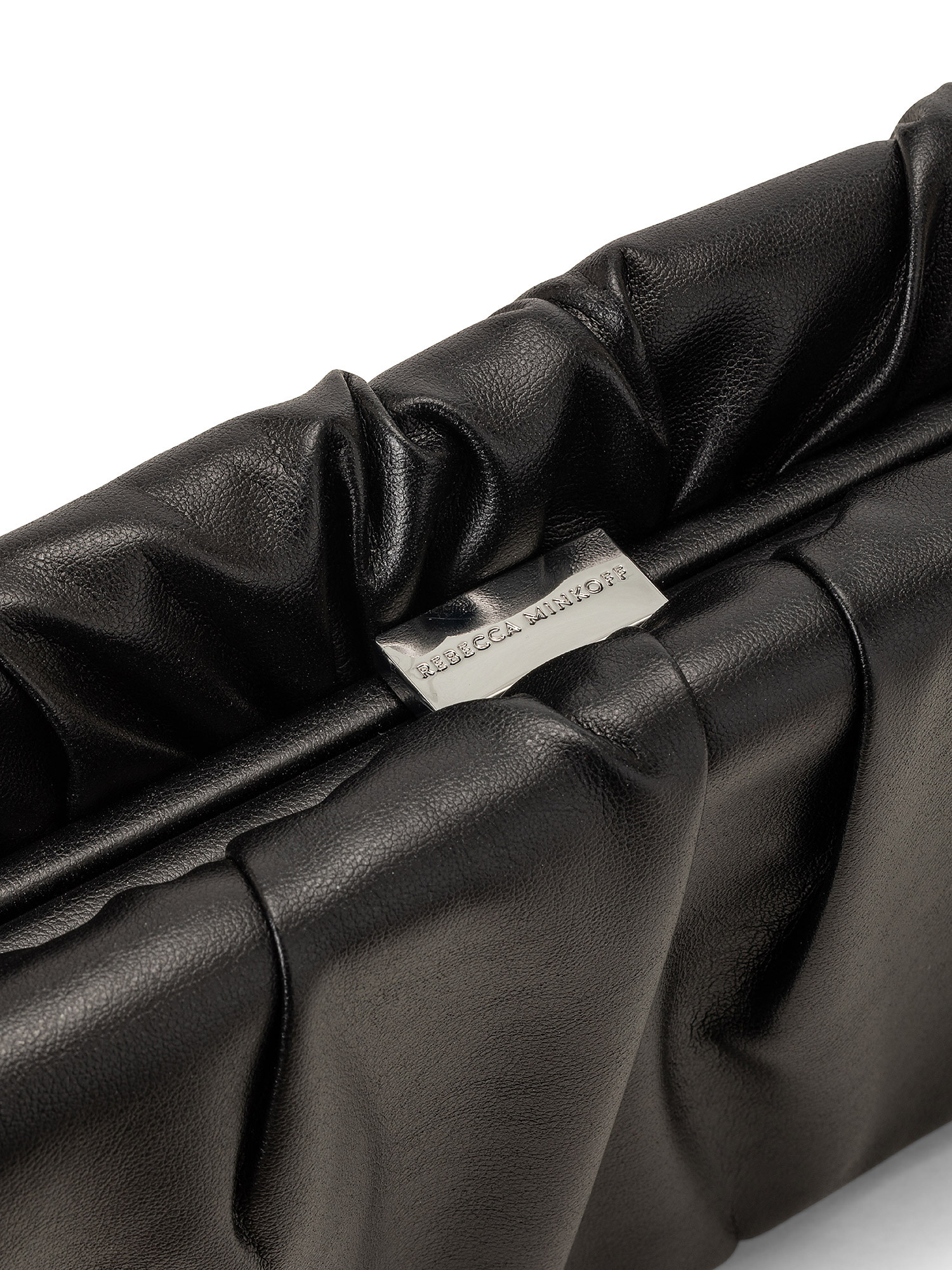 Ruched Frame Clutch, Nero, large image number 2
