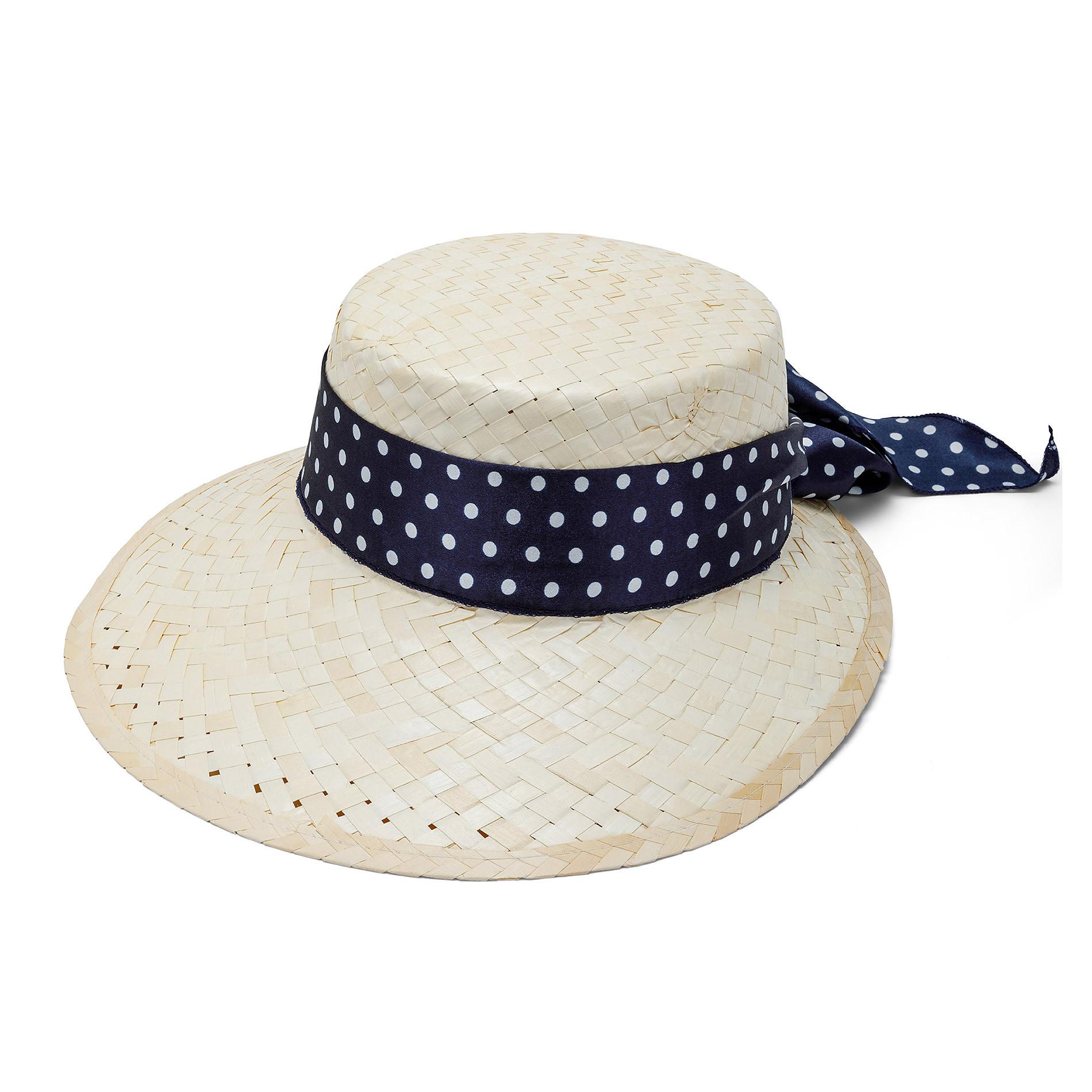 Cappello di paglia con banda a pois Koan, Beige chiaro, large image number 0
