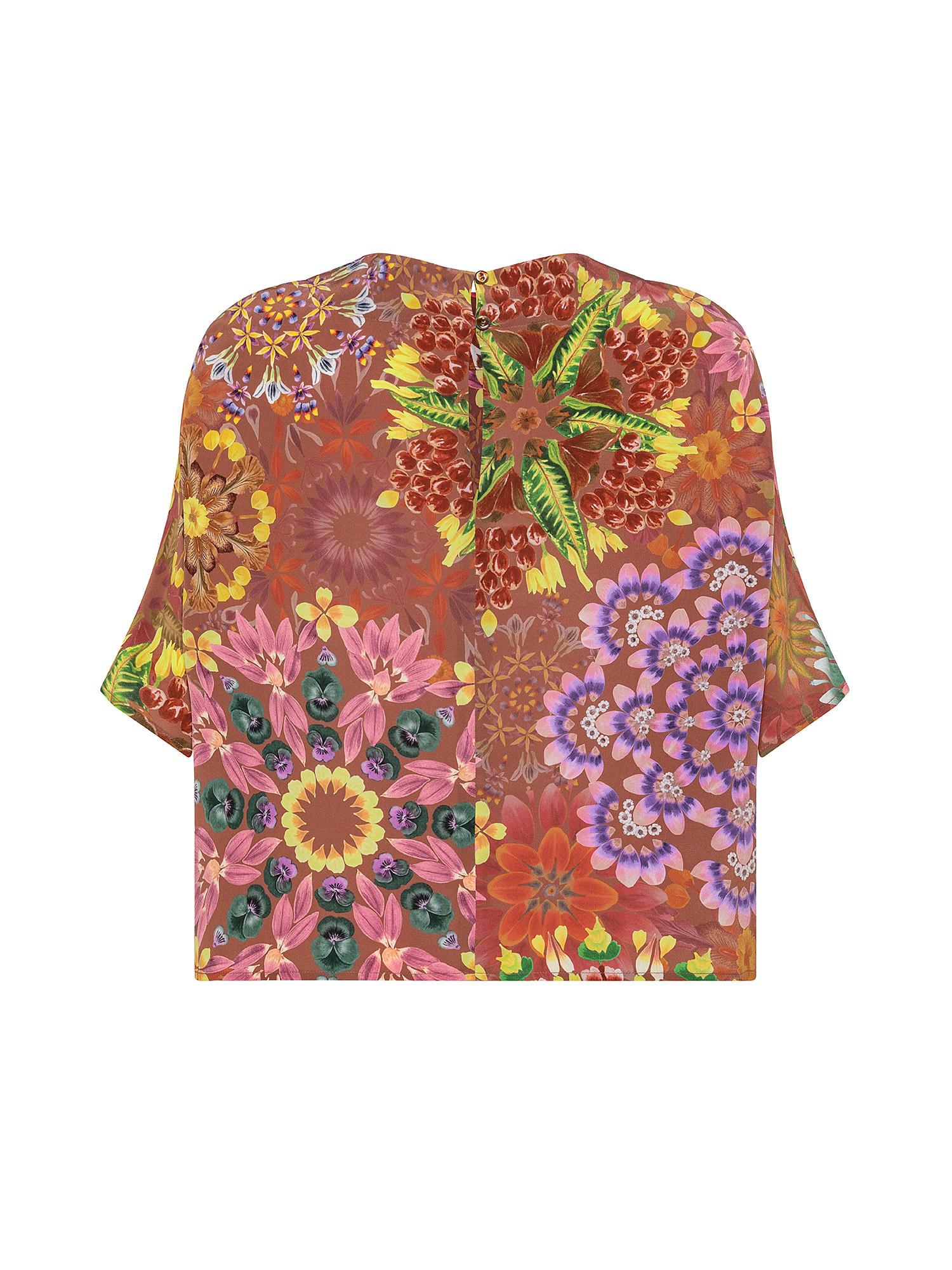 Blusa Como in stampa crêpe  de chine, Rosso mattone, large image number 1