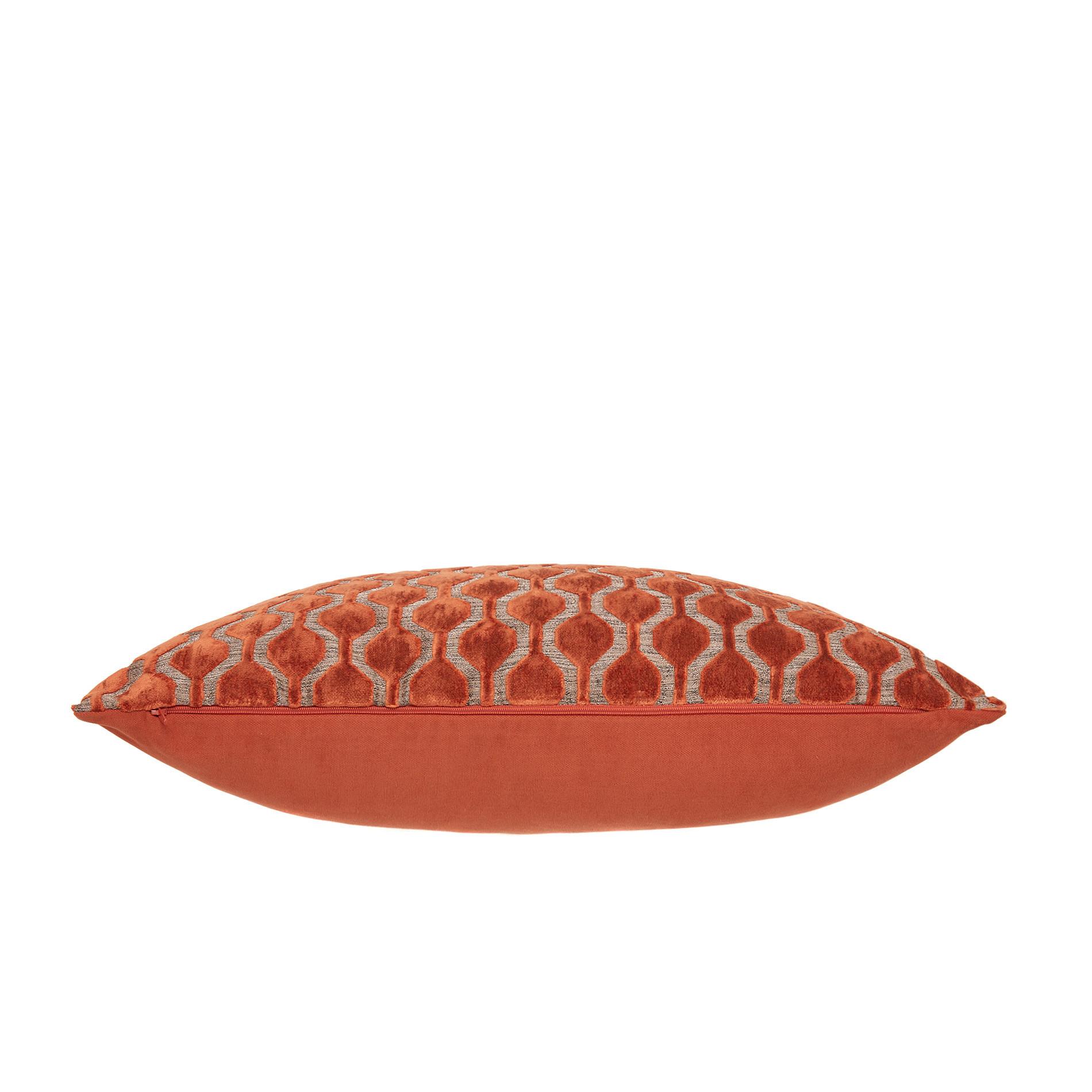 Cuscino velluto motivo geometrico 35x55cm, Marrone chiaro, large image number 2
