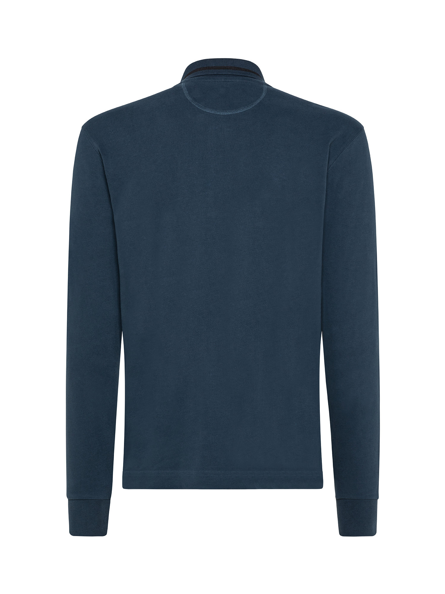 Polo uomo a maniche lunghe in cotone, Blu, large image number 1