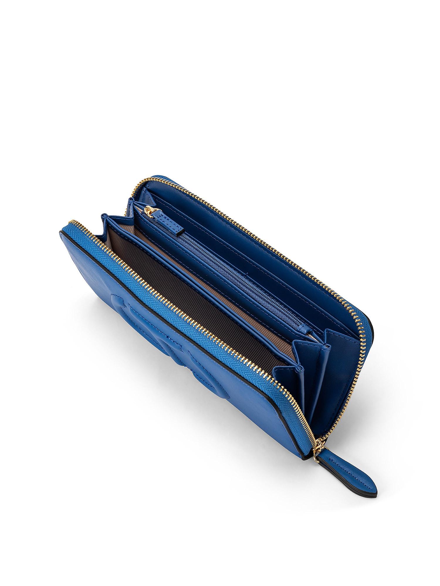 Portafoglio zip around grande t trapuntata, Blu, large image number 2