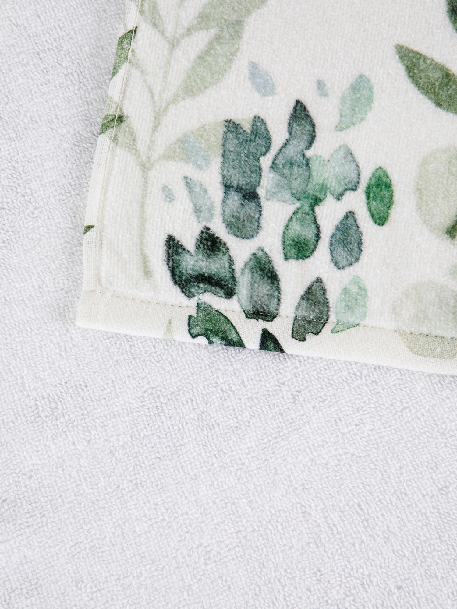 Asciugamano cotone velour motivo botanico, Bianco, large image number 2