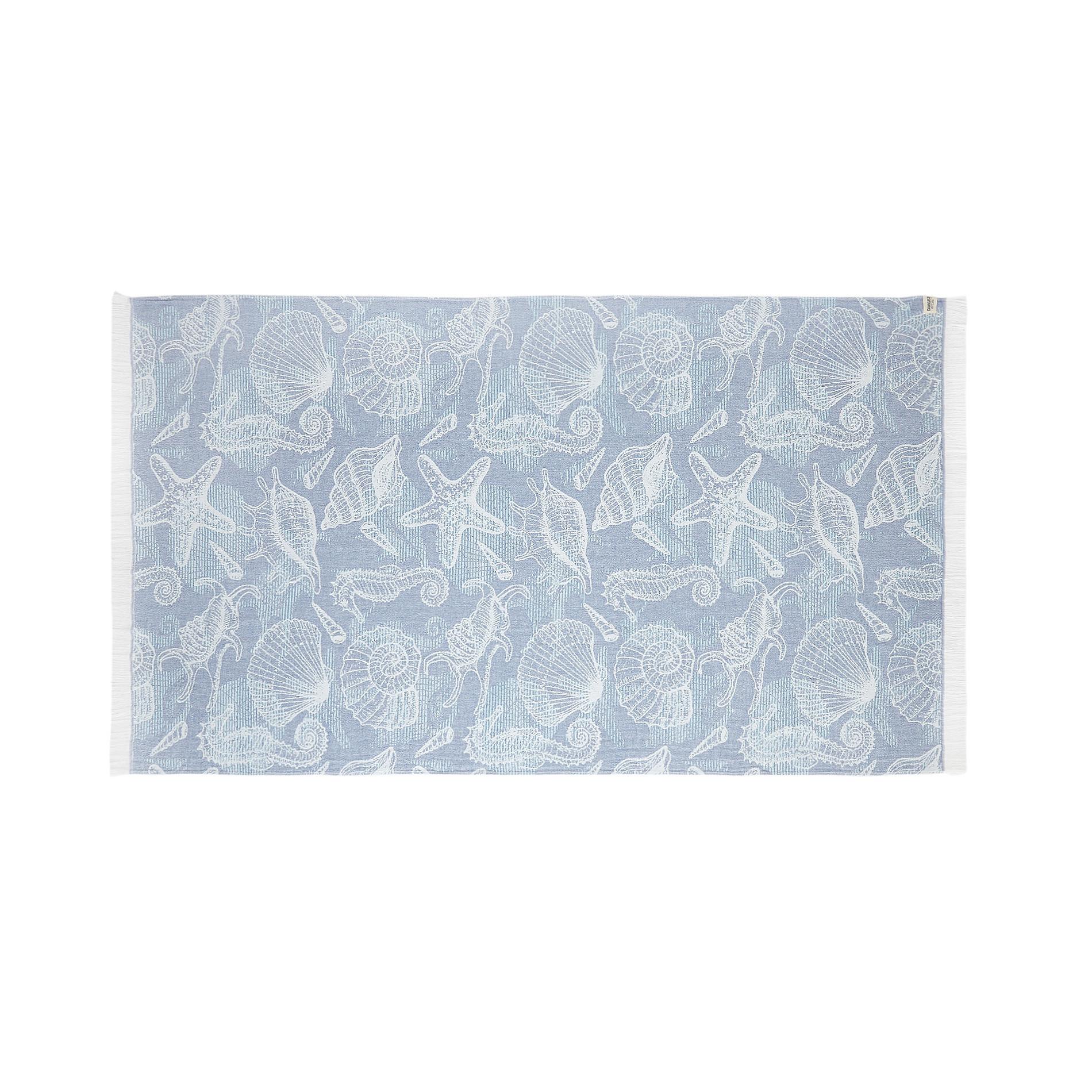 Telo mare cotone leggero motivo conchiglie, Azzurro, large image number 0
