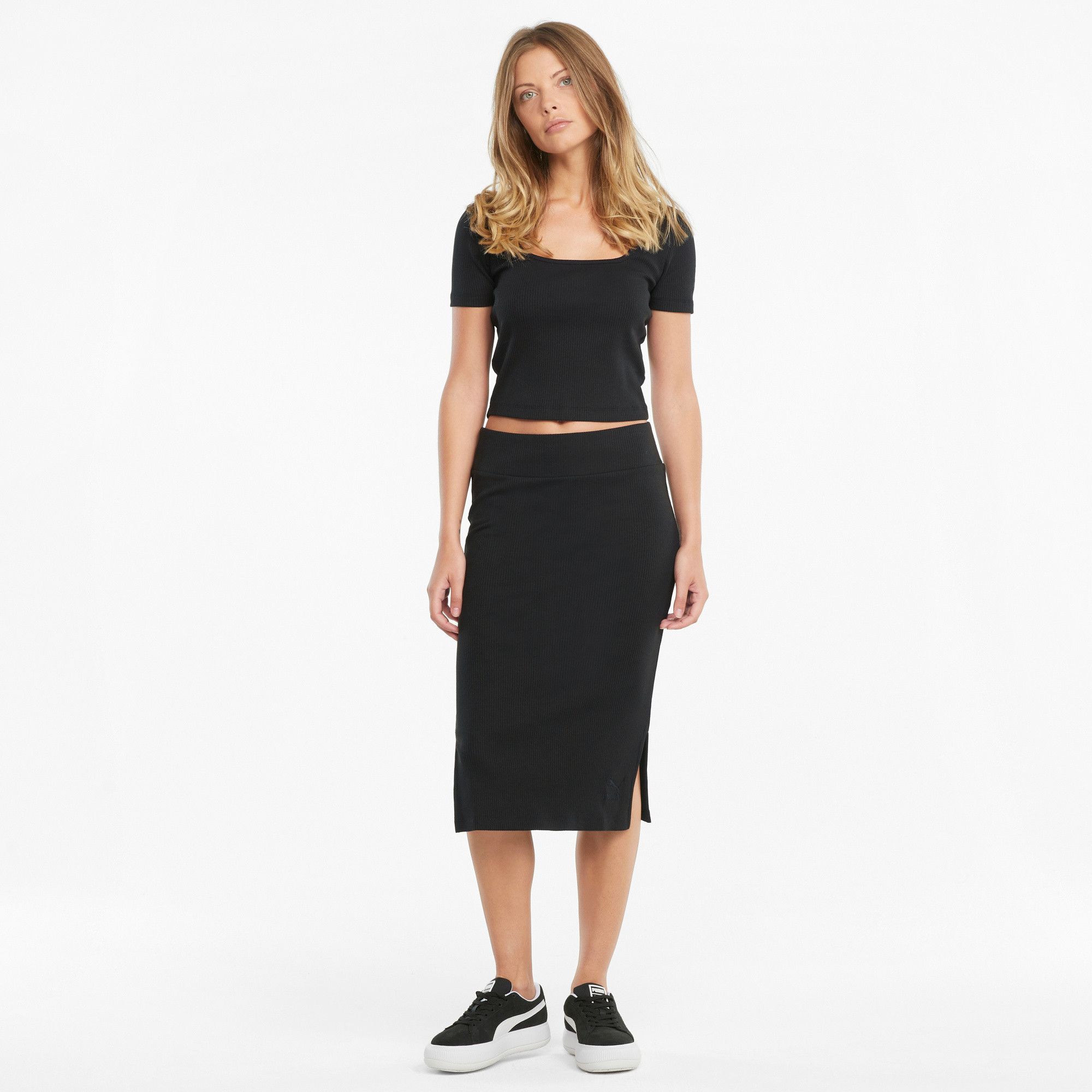 Gonna sportiva midi a coste Classics Collection, Nero, large image number 5