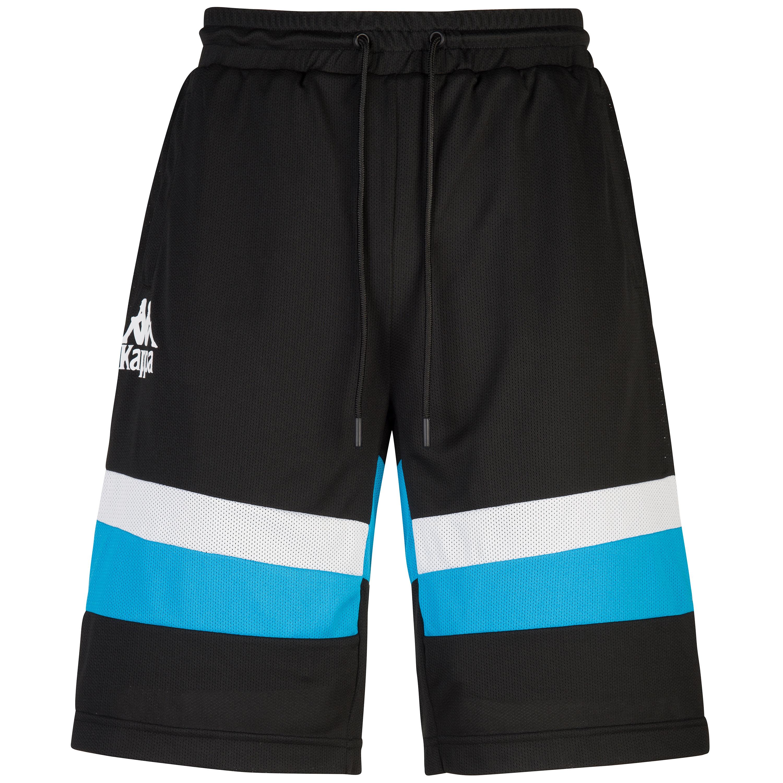 Short con bande sul fondo e logo piccolo, Bianco/Nero, large image number 0