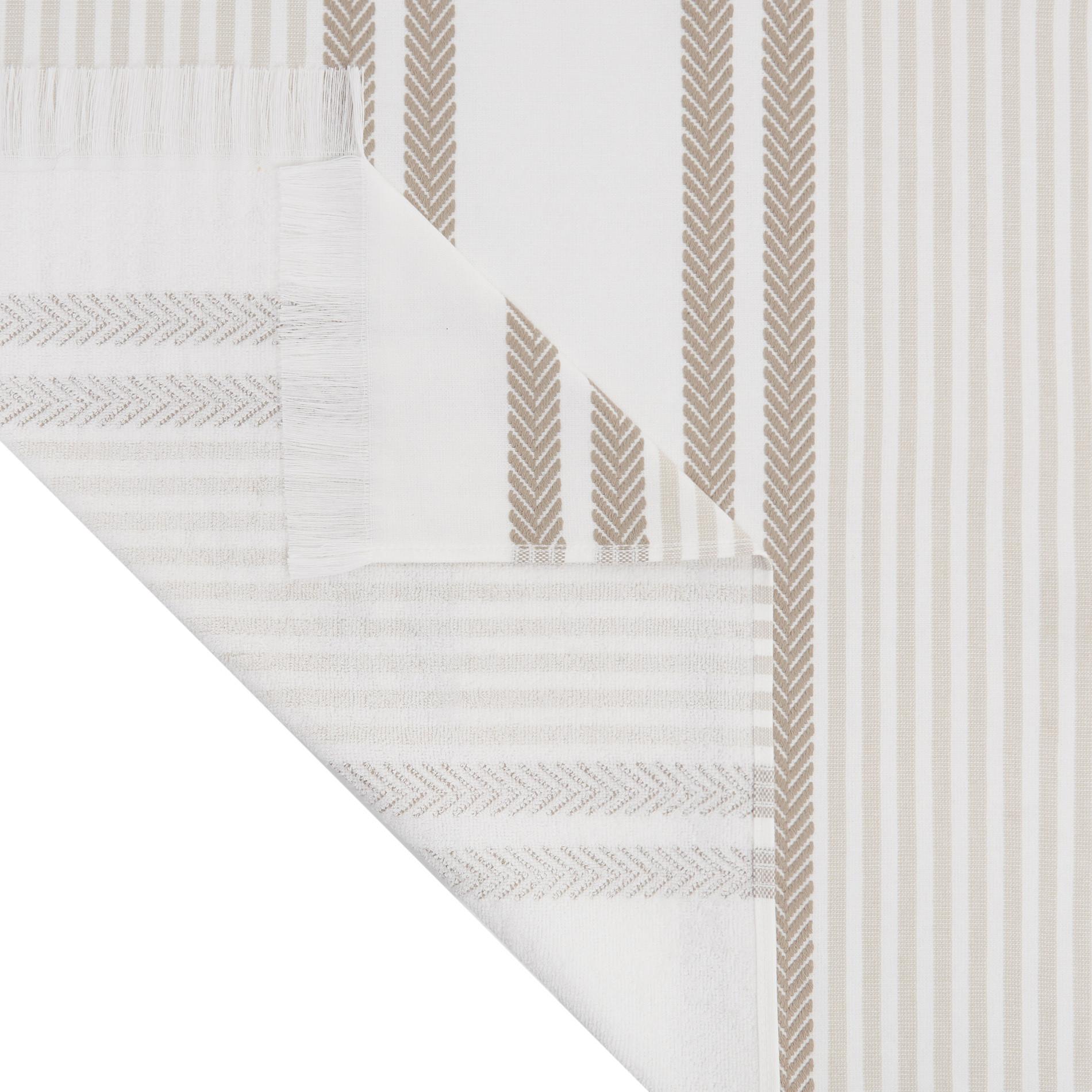 Telo mare hammam cotone jacquard tinto filo a righe, Bianco, large image number 1
