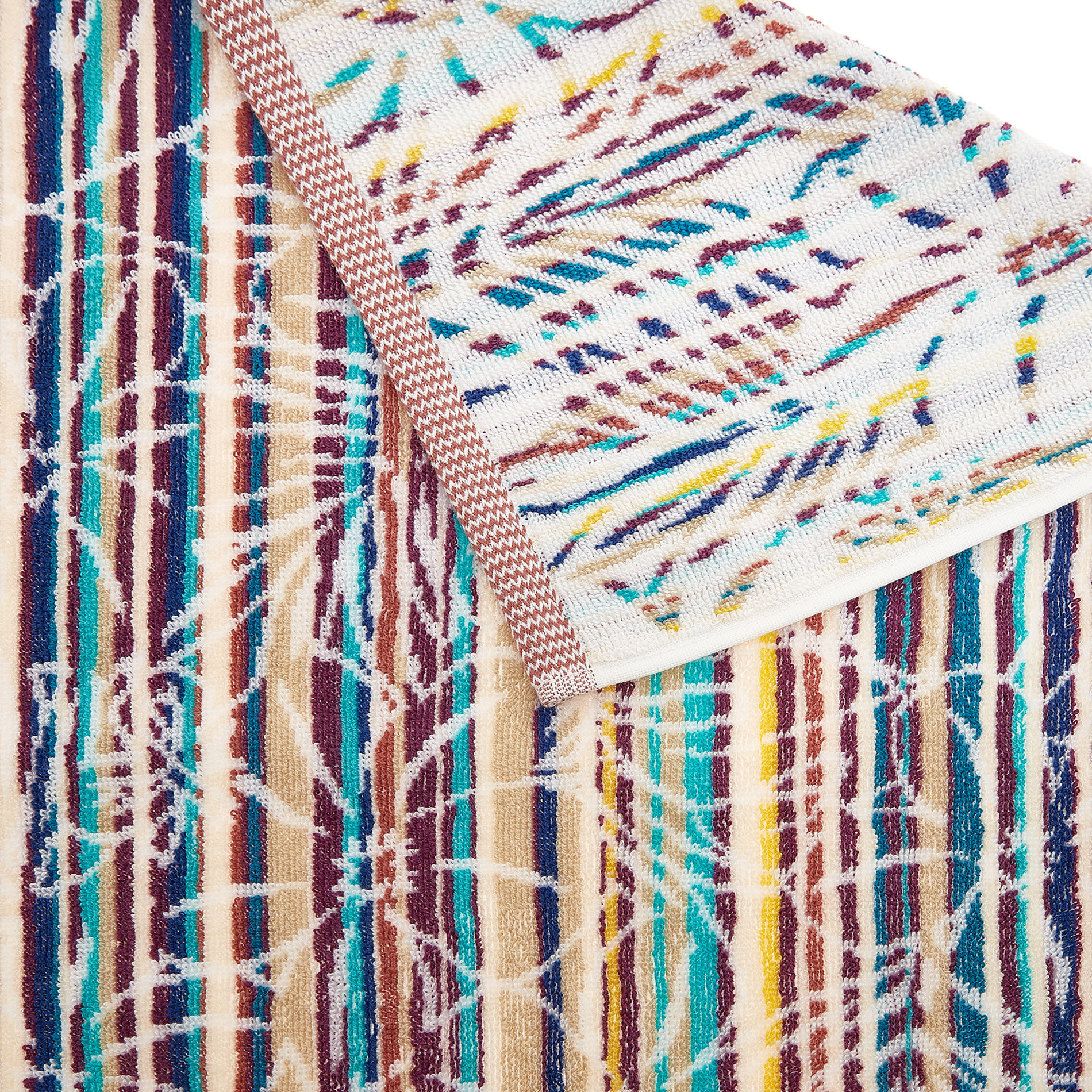 Asciugamano cotone jacquard motivo tropicale, Multicolor, large image number 2
