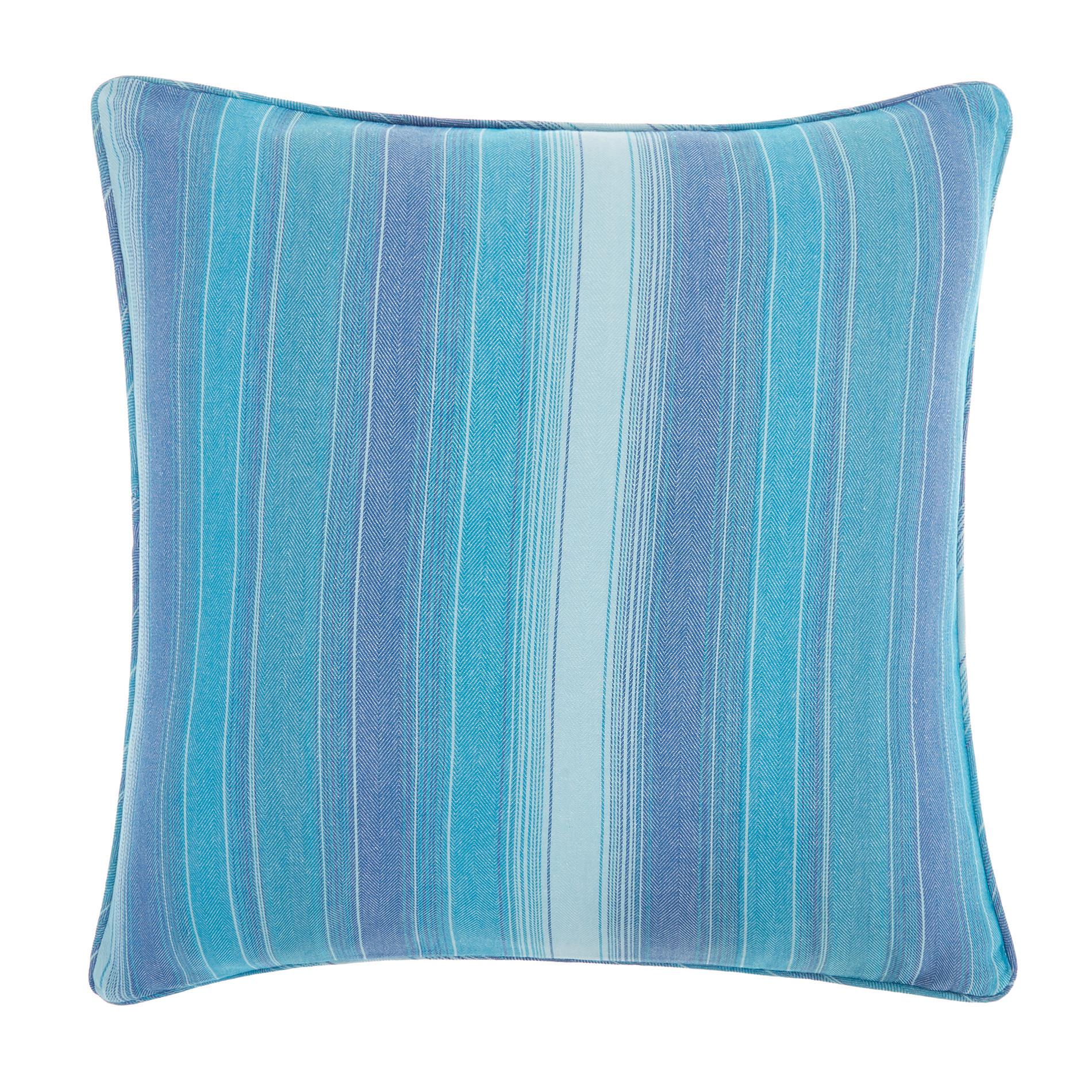Cuscino puro cotone a righe, Azzurro, large image number 0