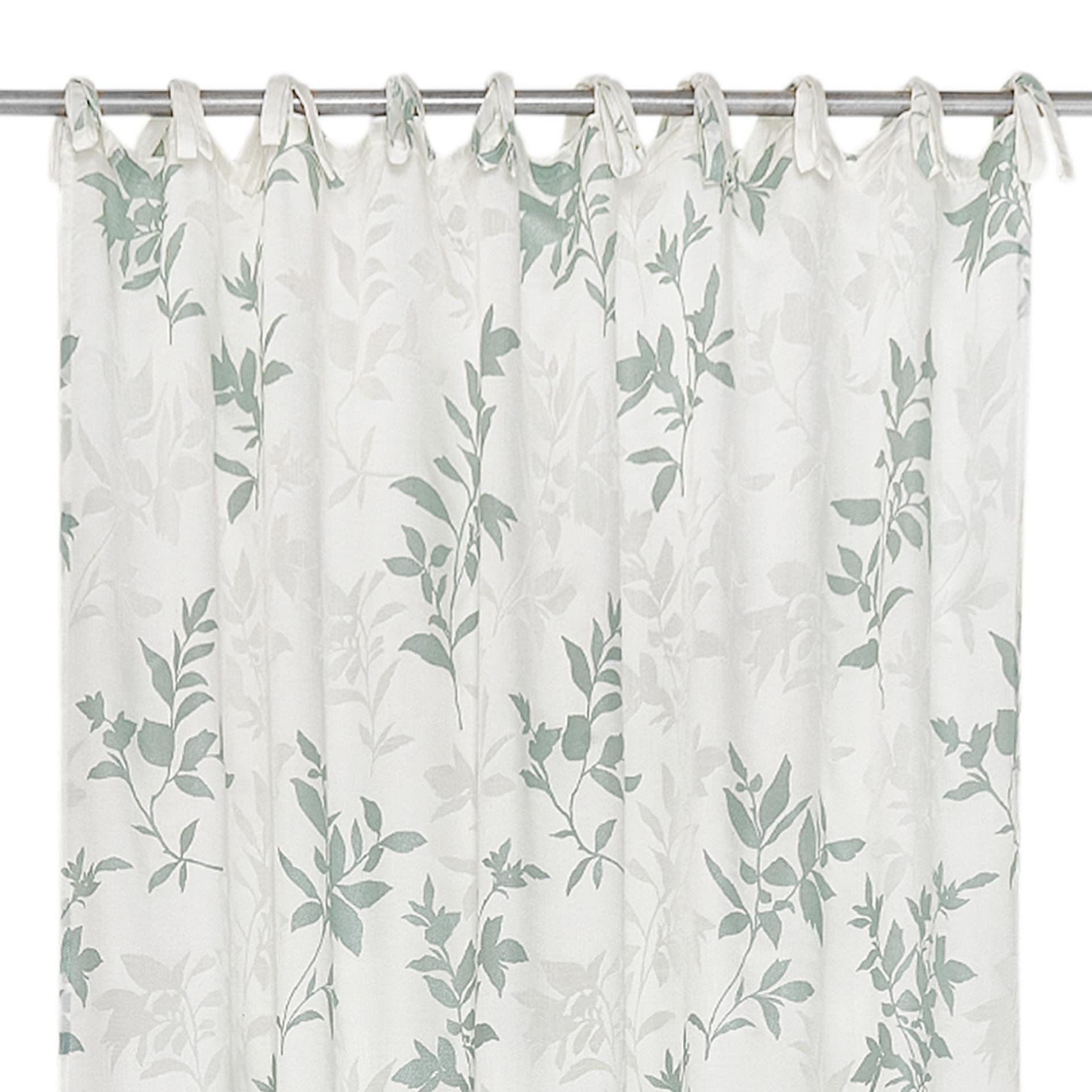 Tenda tessuto devore floreale con laccetti, Beige chiaro, large image number 2