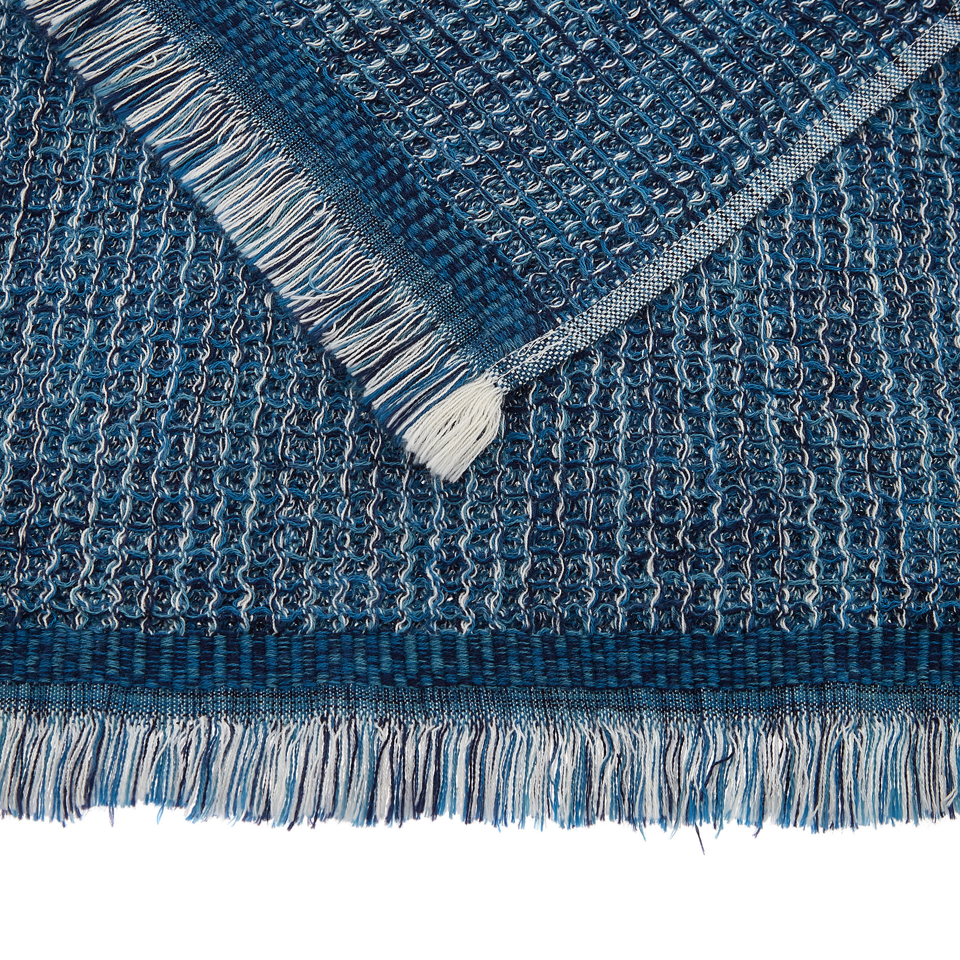 Asciugamano cotone nido d'ape effetto melange, Blu, large image number 2