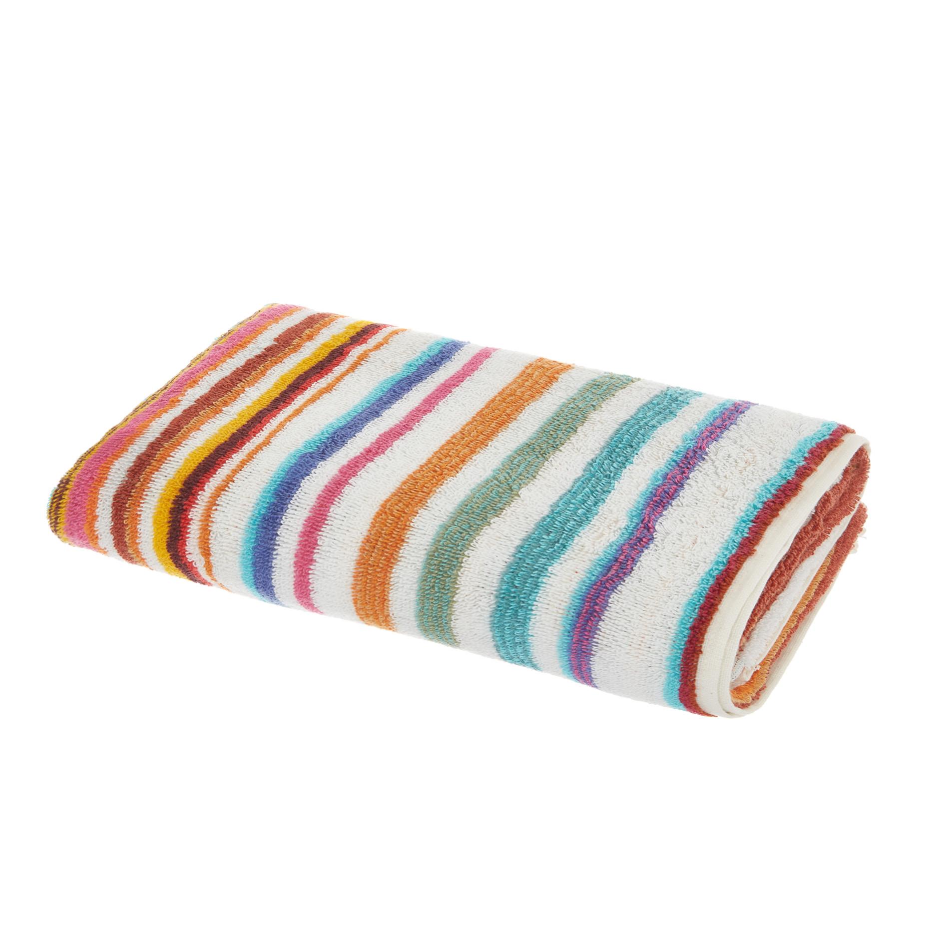 Asciugamano cotone tinto filo a righe, Arancione, large image number 0