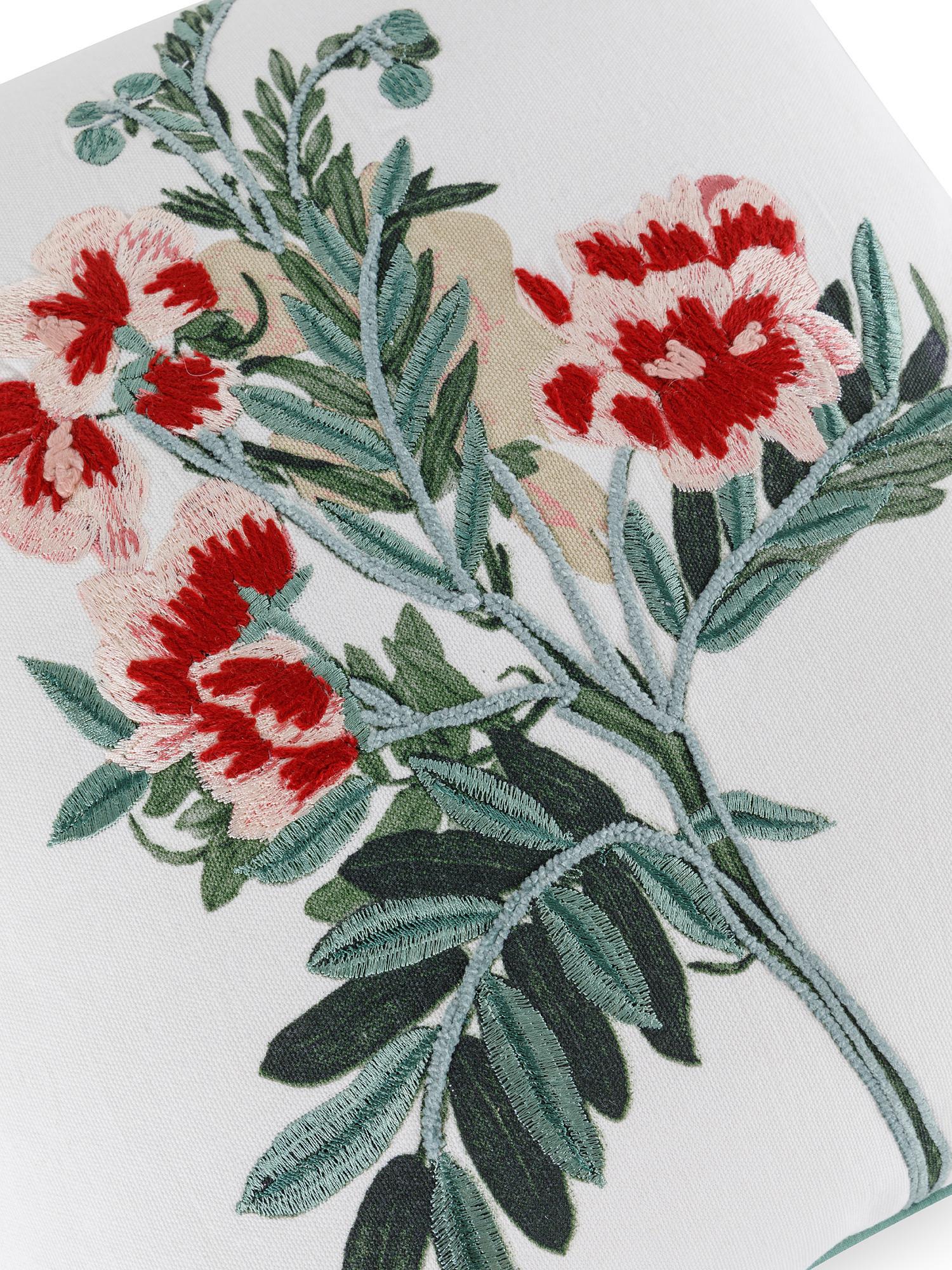 Cuscino cotone ricamo floreale 45x45cm, Multicolor, large image number 2