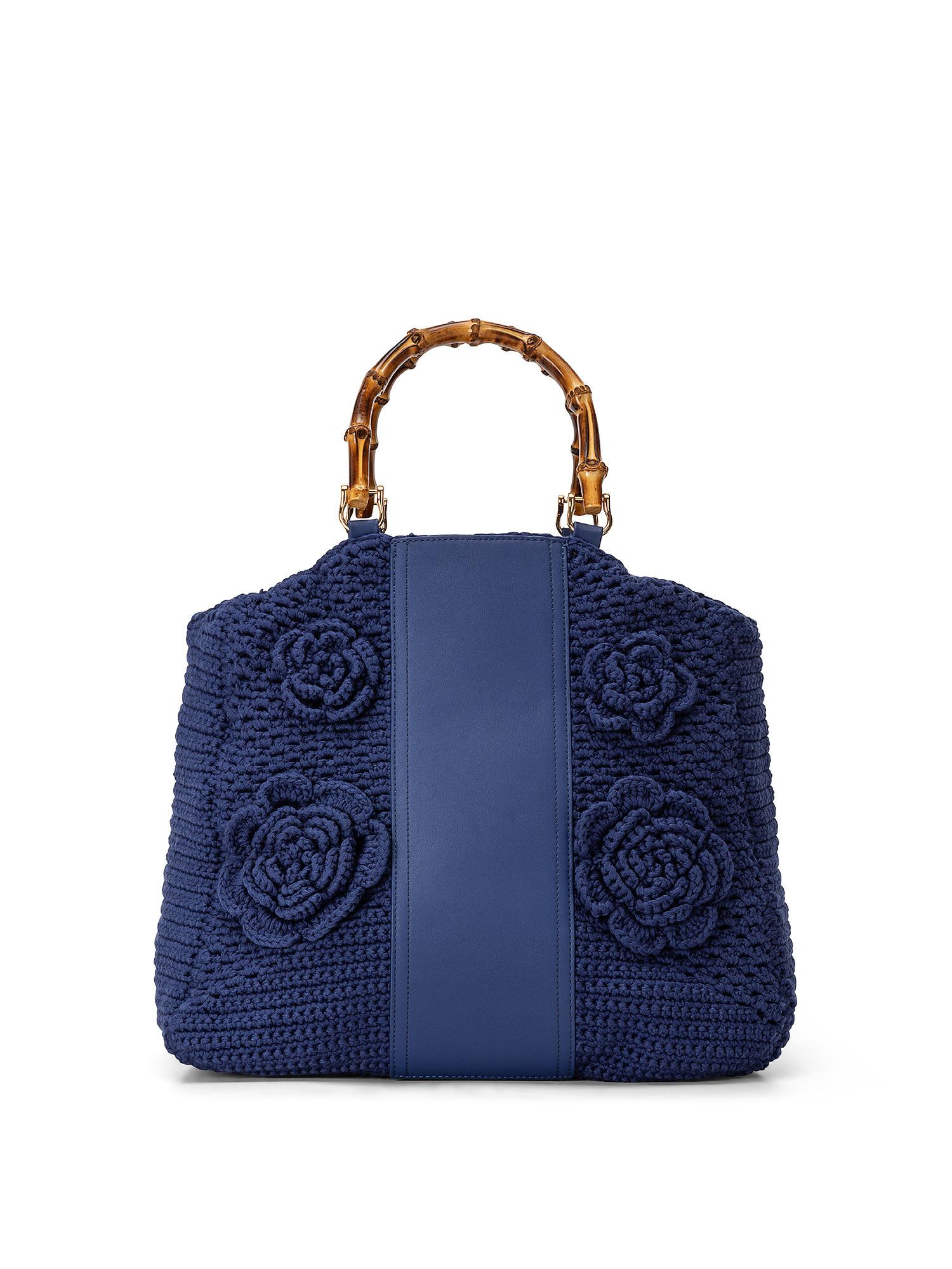 Shopper Crochet con applicazioni, Blu, large image number 0