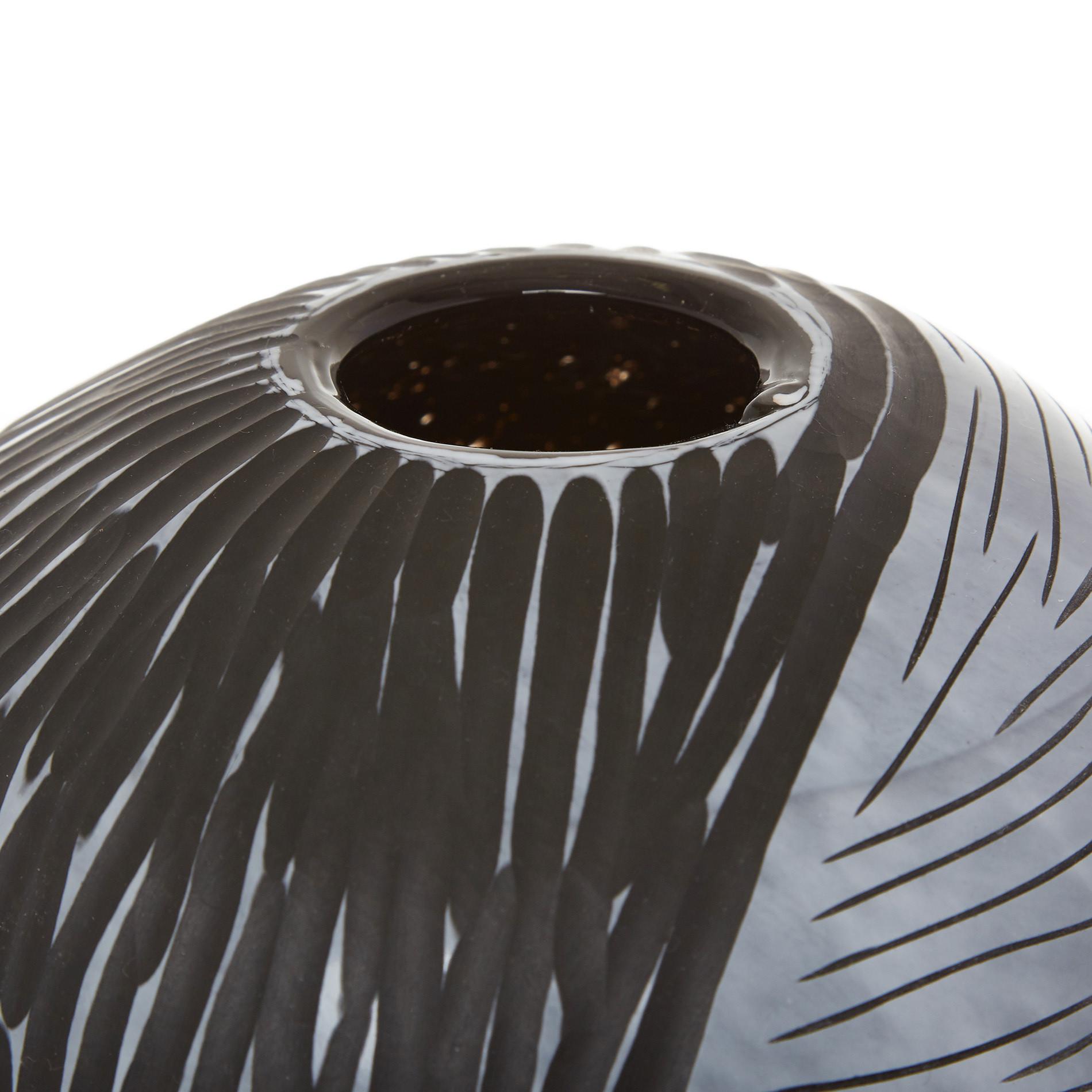 Vaso vetro colorato in pasta effetto striature, Nero, large image number 1