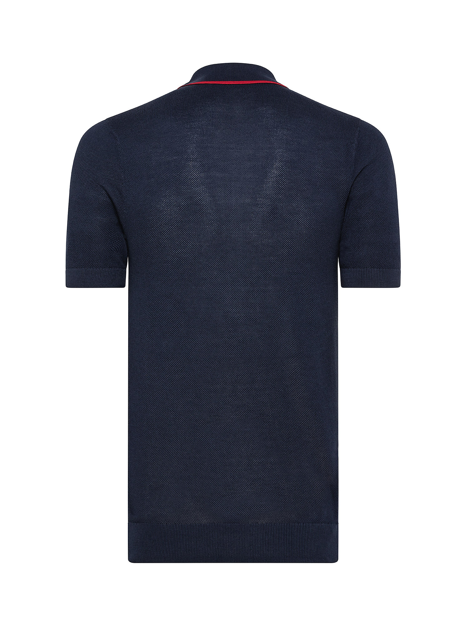 Polo in maglia con riga, Blu, large image number 1