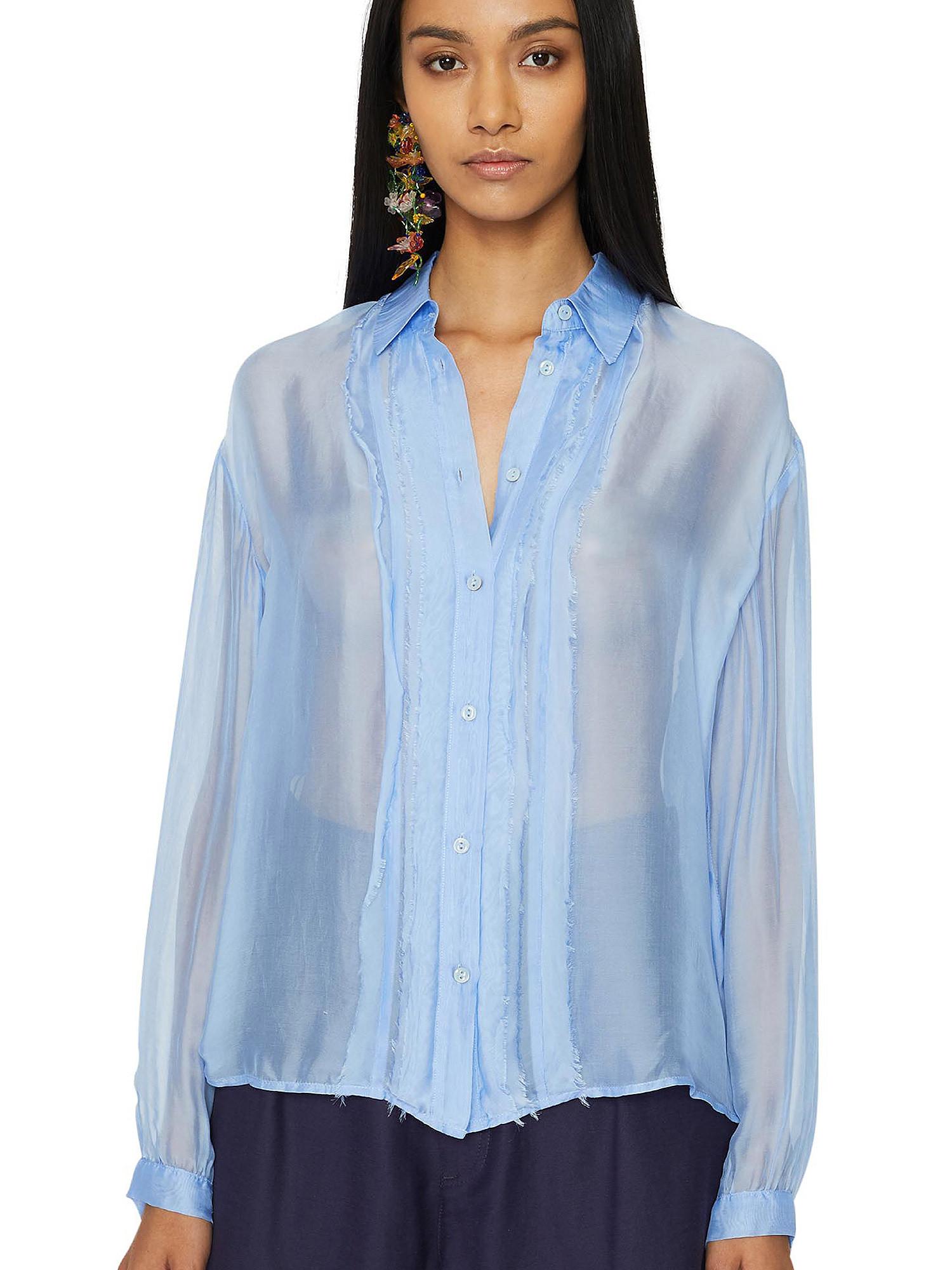 Camicia in chiffon Vanilla, Azzurro, large image number 5