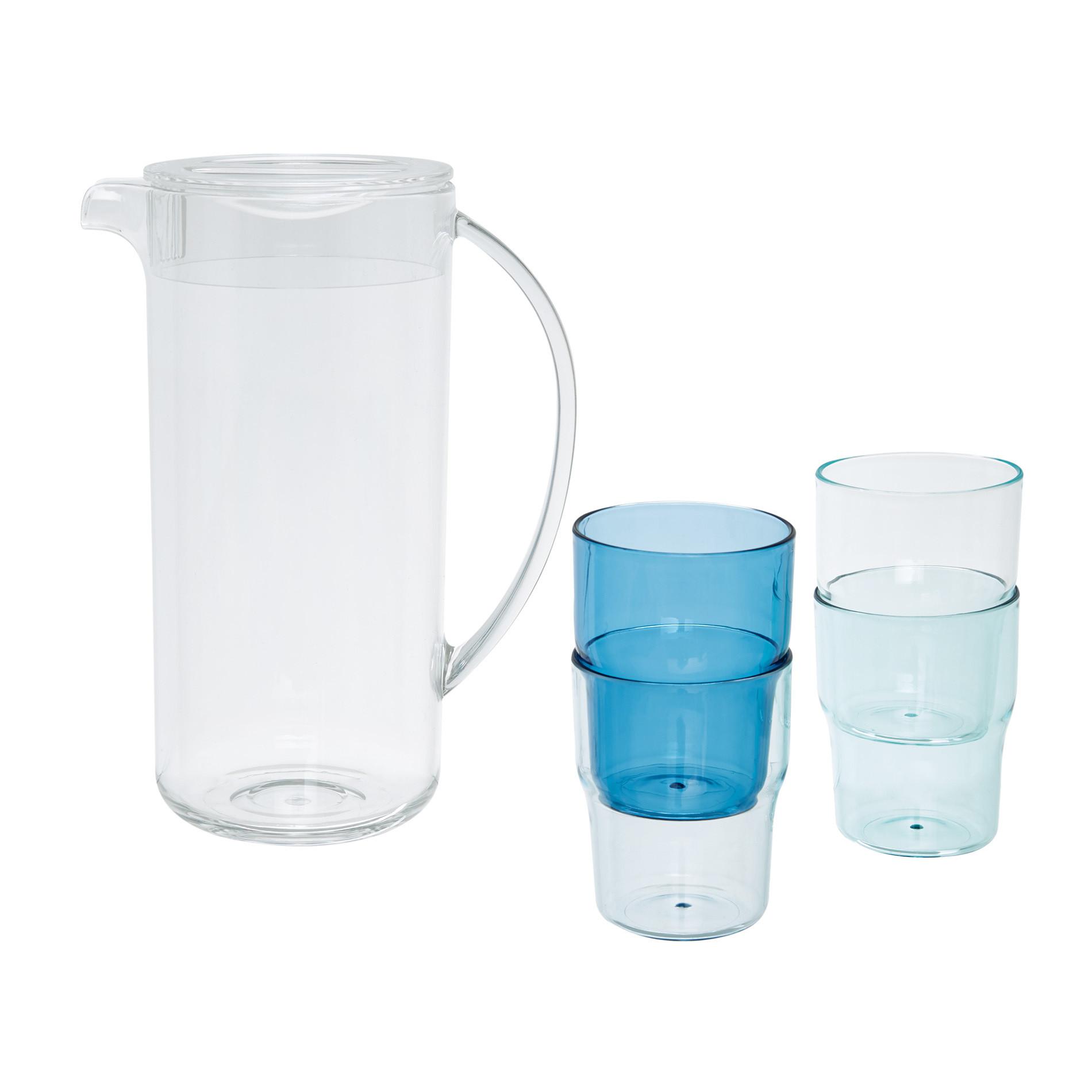 Caraffa plastica con 4 bicchieri, Trasparente, large image number 1