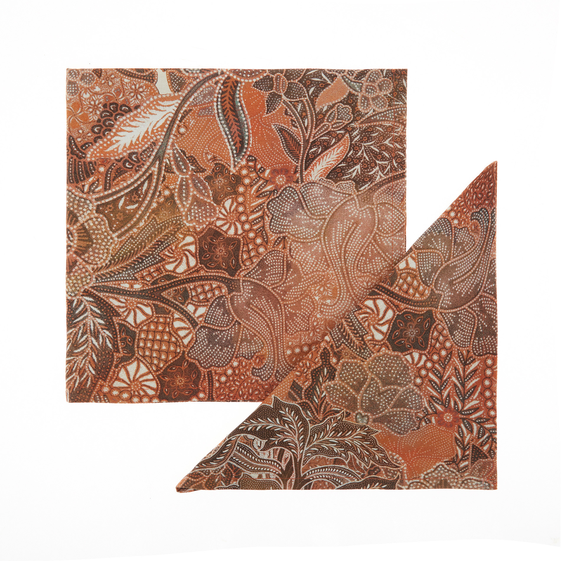 Set 2 tovaglioli puro cotone stampa foulard, Arancione, large image number 0