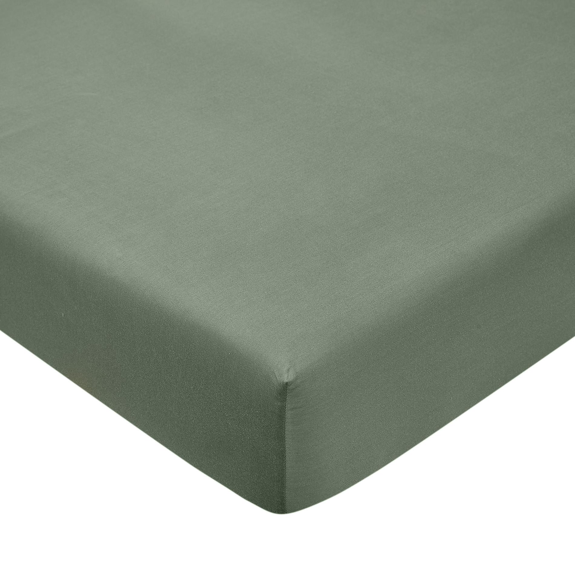Lenzuolo con angoli raso di cotone tinta unita, Verde giada, large image number 0