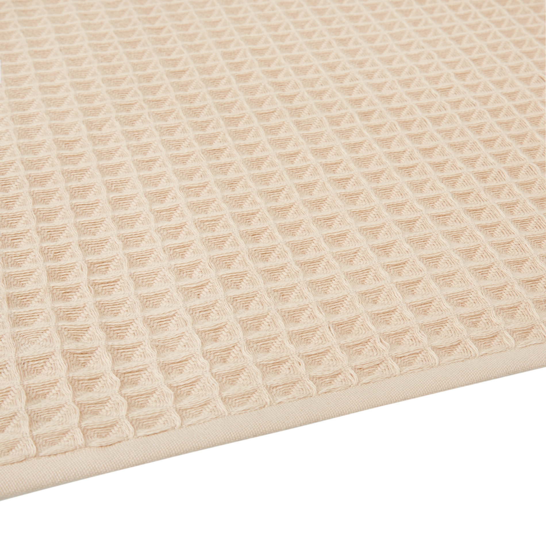Set 2 asciugamani puro cotone nido d'ape tinta unita, Beige, large image number 2